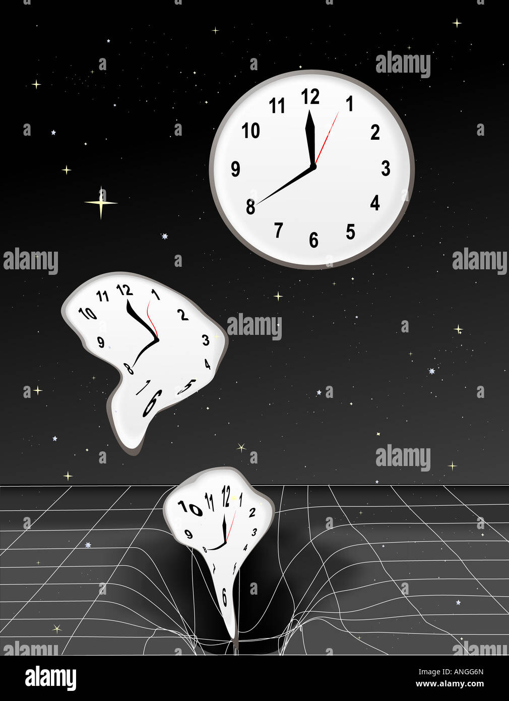 Clocks getting warped and falling into a black hole - Stock Image