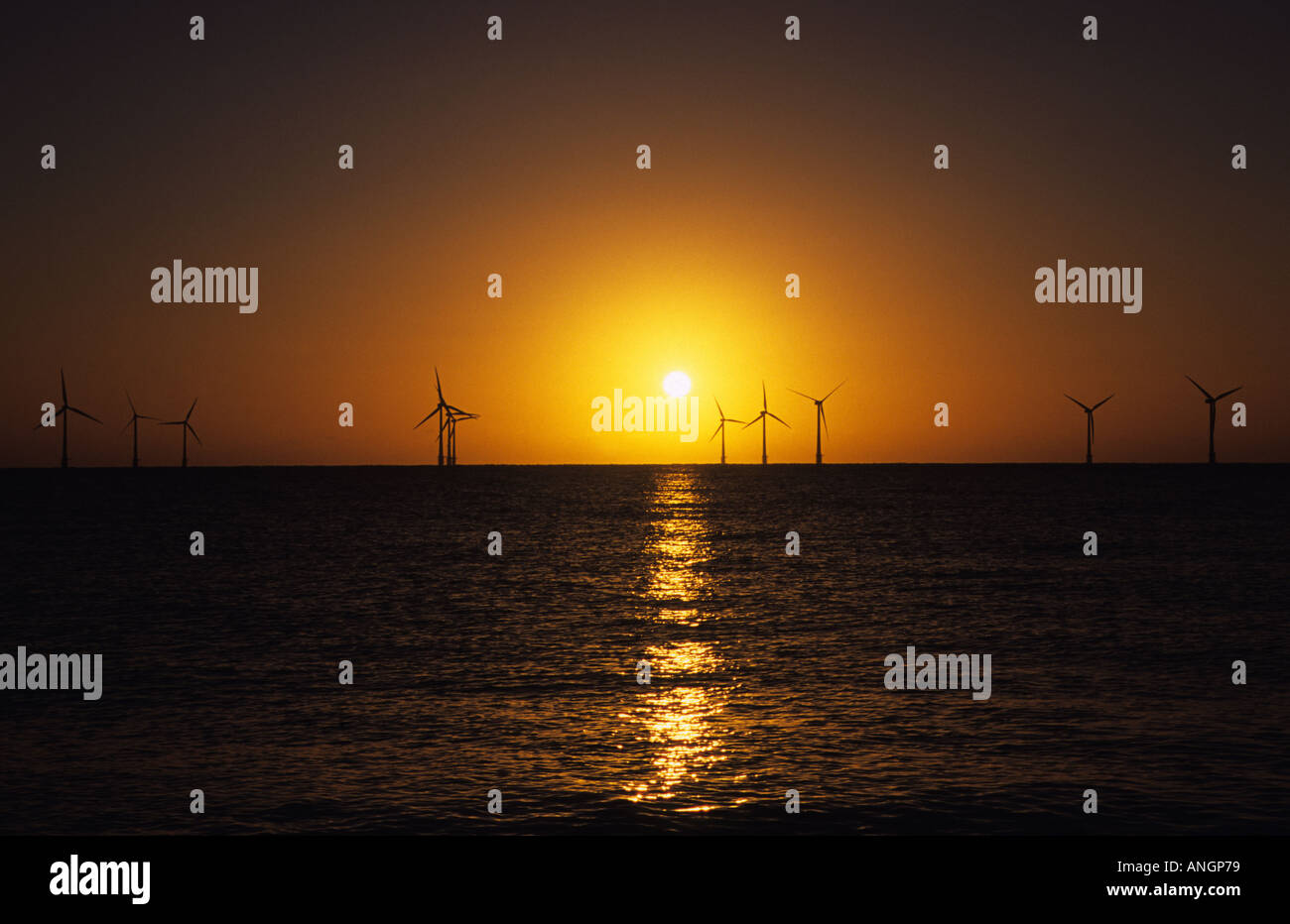 Scroby Sands wind farm two miles off the coast of Great Yarmouth, Norfolk UK - Stock Image