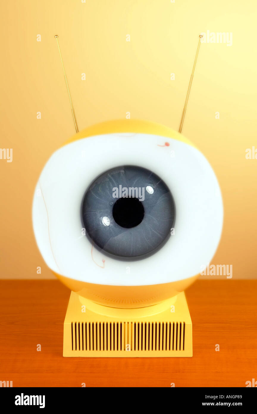 1970 Television with eye ball Big Brother watching - Stock Image