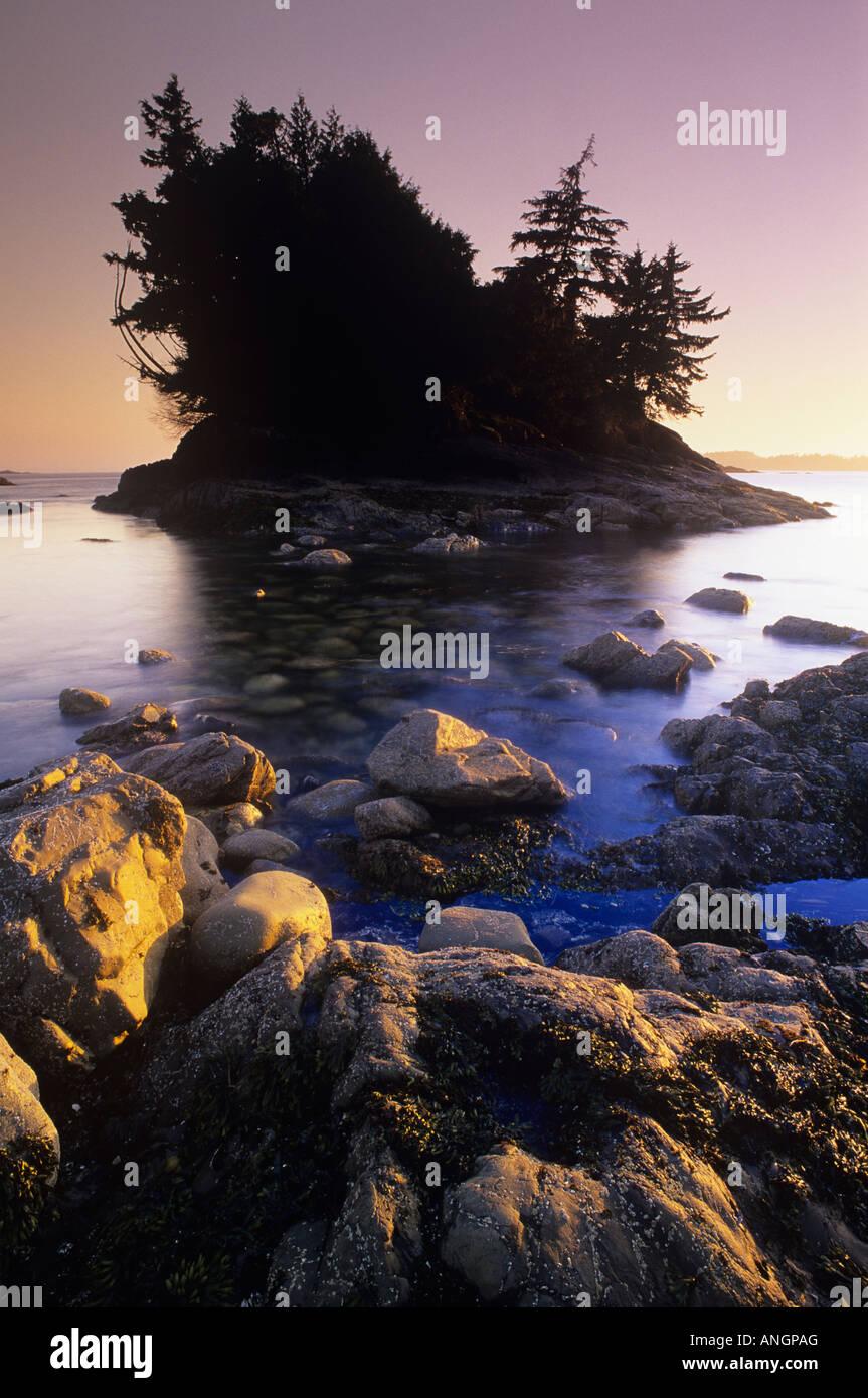 Sunset at Mackenzie Beach, Vancouver Island, British Columbia, Canada. Stock Photo