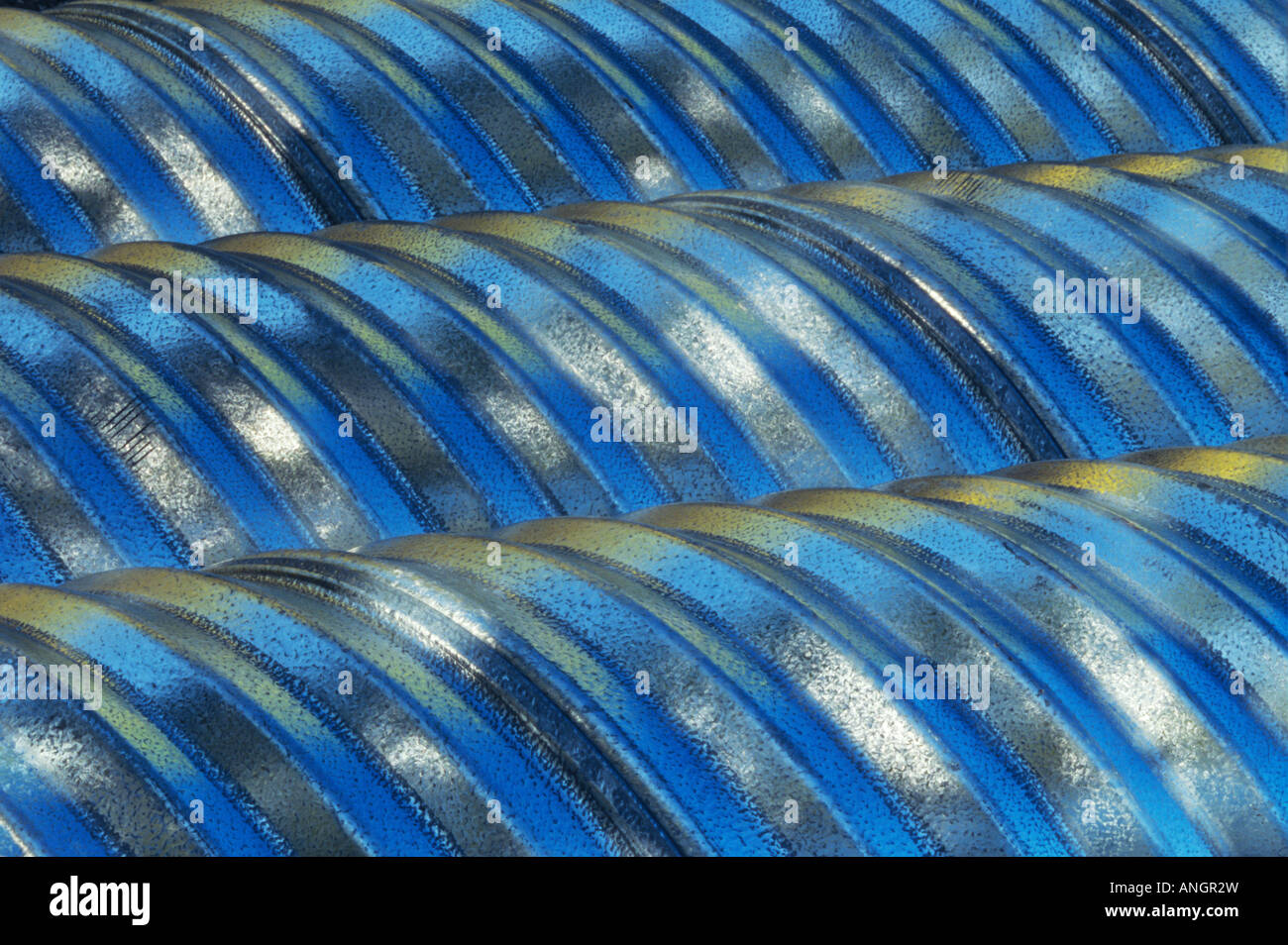 Metal culverts, Manitoba, Canada. Stock Photo