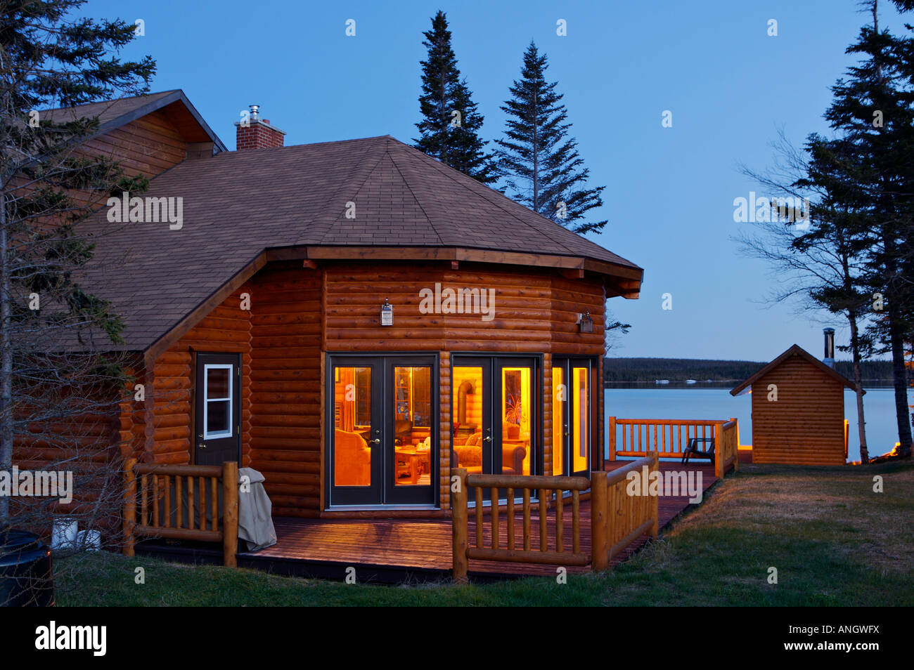 Tuckamore Lodge, Main Brook, Viking Trail, Northern Peninsula, Newfoundland & Labrador, Canada. - Stock Image