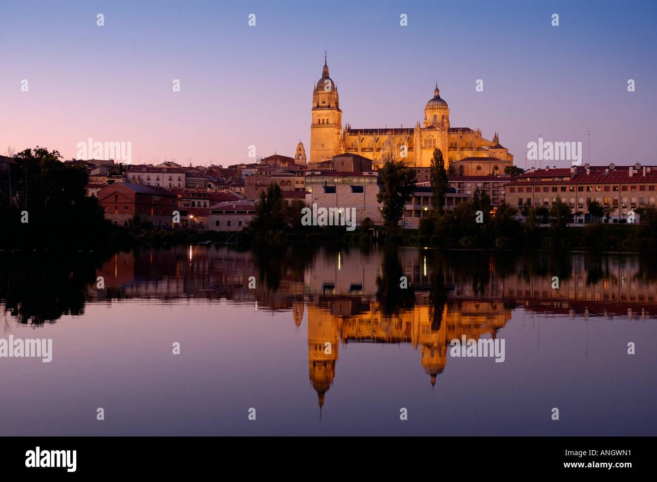Rio Tormes & Cathedral, Salamanca, Castilla y Leon, Spain - Stock Image