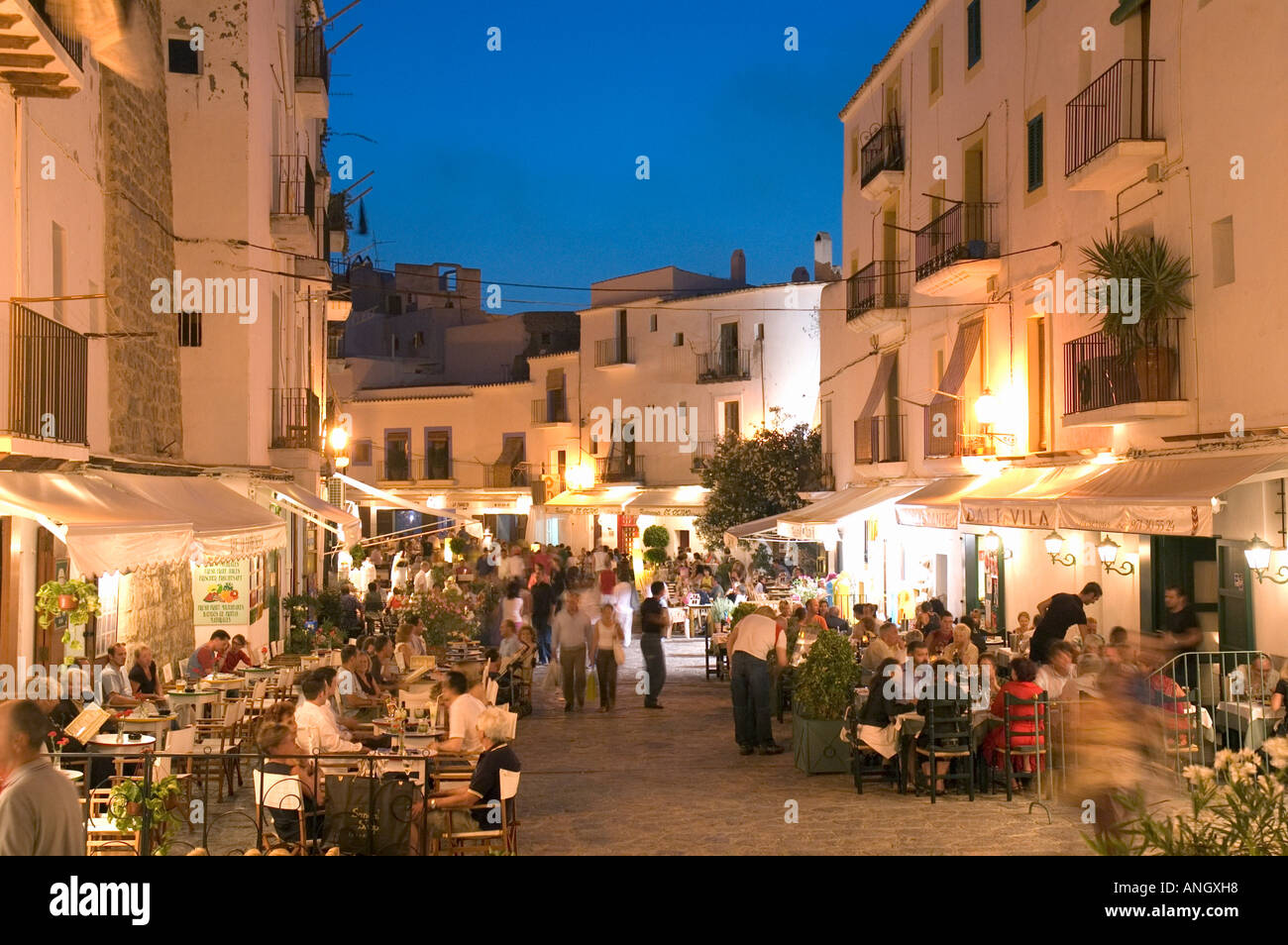 restaurants placa da villa ibiza town ibiza spain stock photo 8871831 alamy. Black Bedroom Furniture Sets. Home Design Ideas