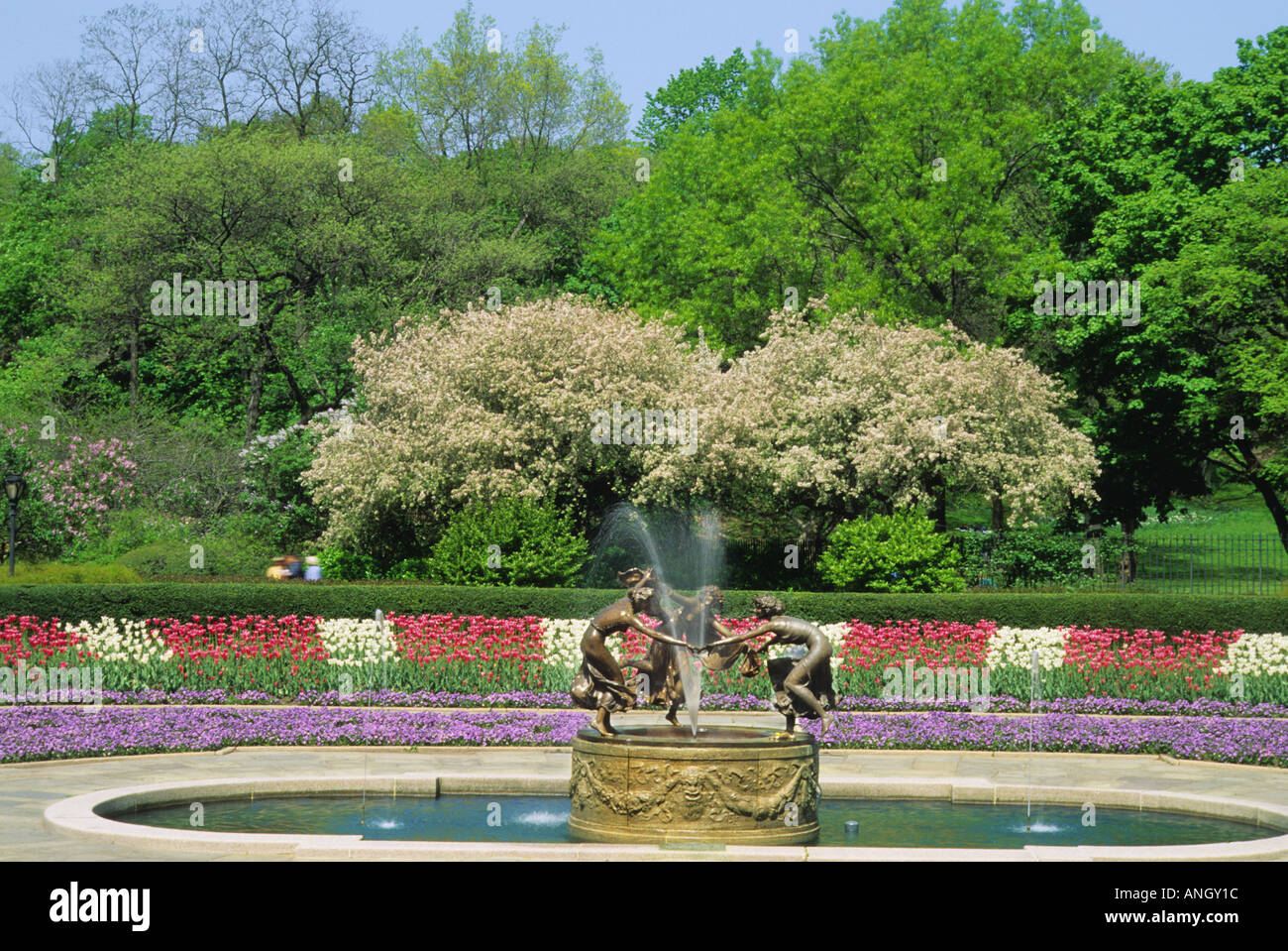new york city central park conservatory garden three dancing maidens fountain in the spring - Central Park Conservatory Garden