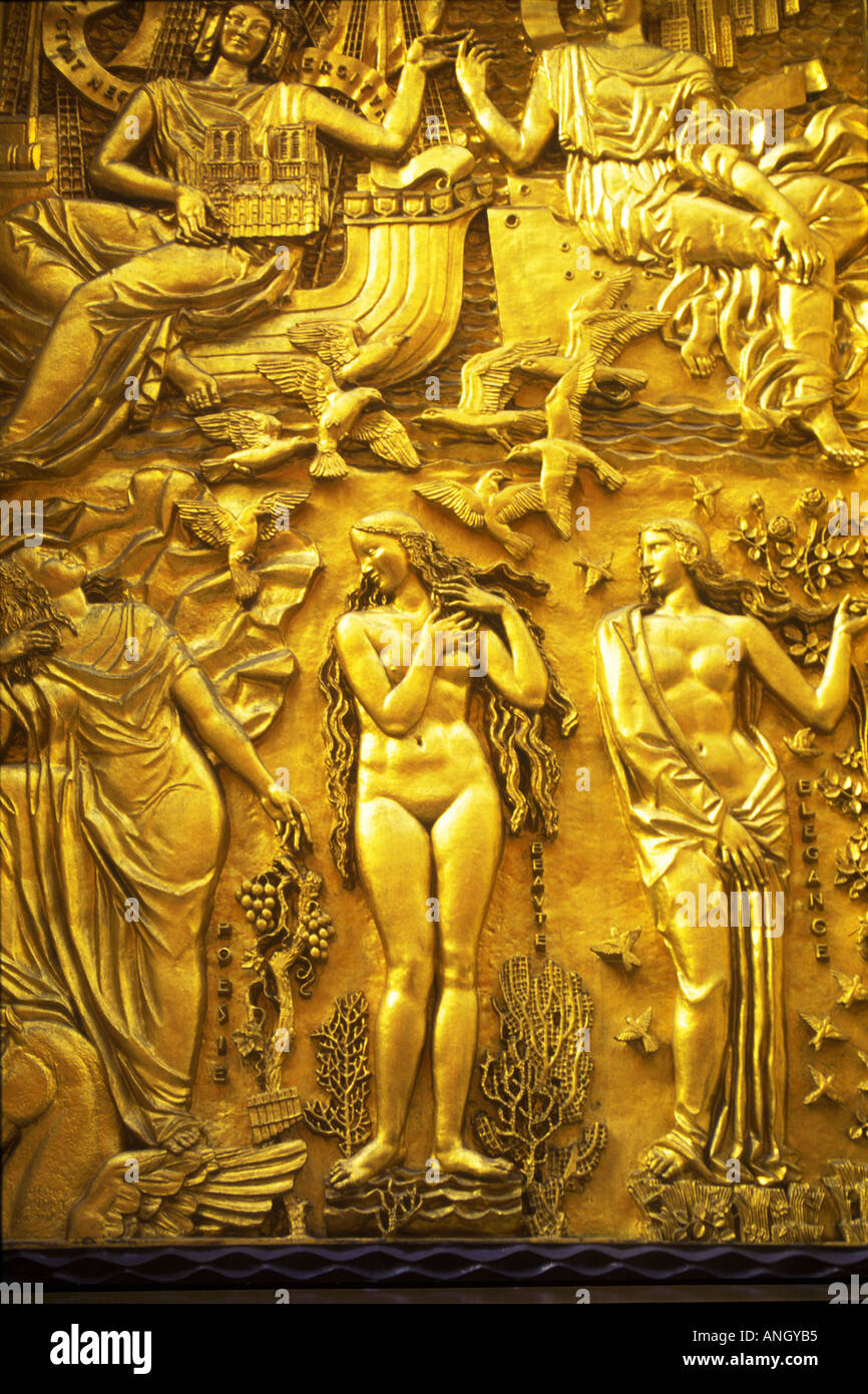 USA New York Rockefeller Center Gold Door with Mythological Relief Panel & USA New York Rockefeller Center Gold Door with Mythological Relief ...