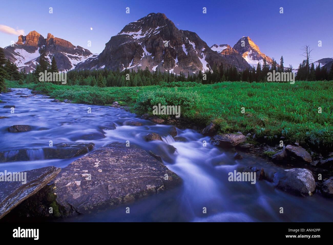 Magog Creek and Naiset Point, Mount Assiniboine Provincial Park, British Columbia, Canada. Stock Photo