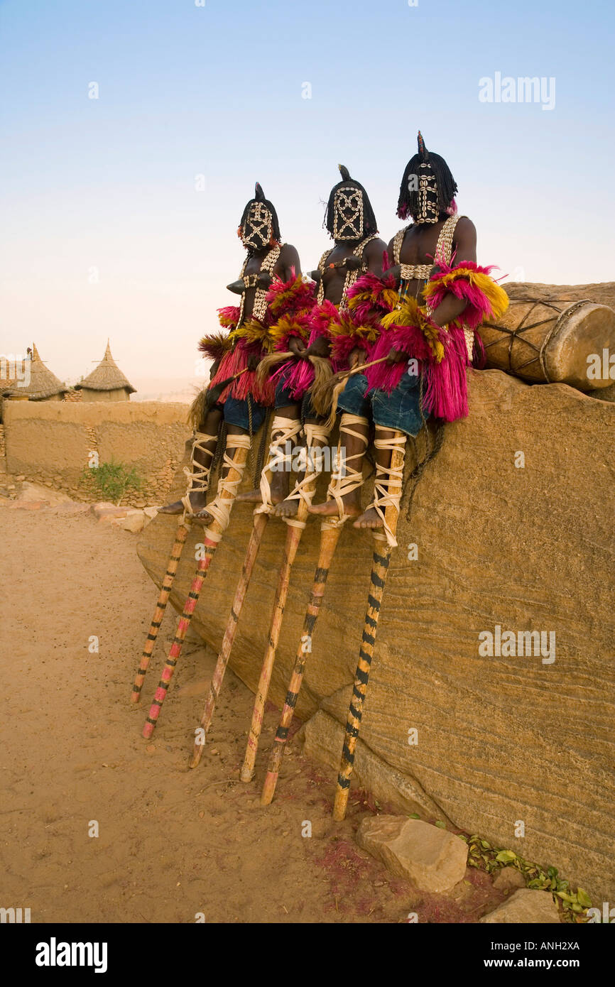 Masked Ceremonial Dogon Dancers, Sangha, Dogon Country, Mali - Stock Image