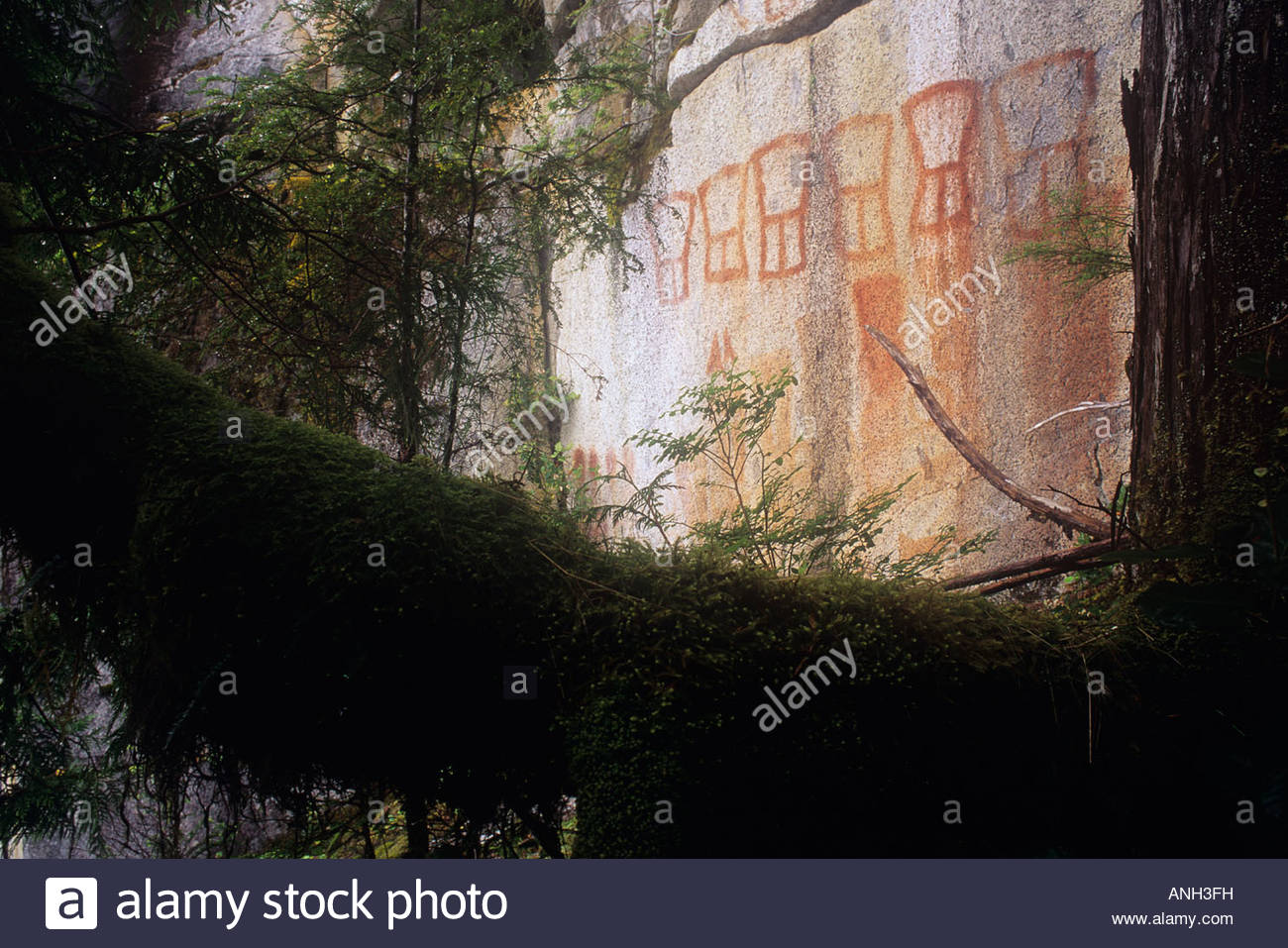 First Nations pictograph, Seymour inlet, Great Bear Rainforest, British Columbia, Canada. - Stock Image