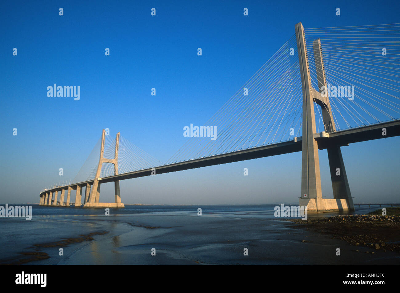 Vasco da Gama Bridge, Lisbon, Portugal - Stock Image