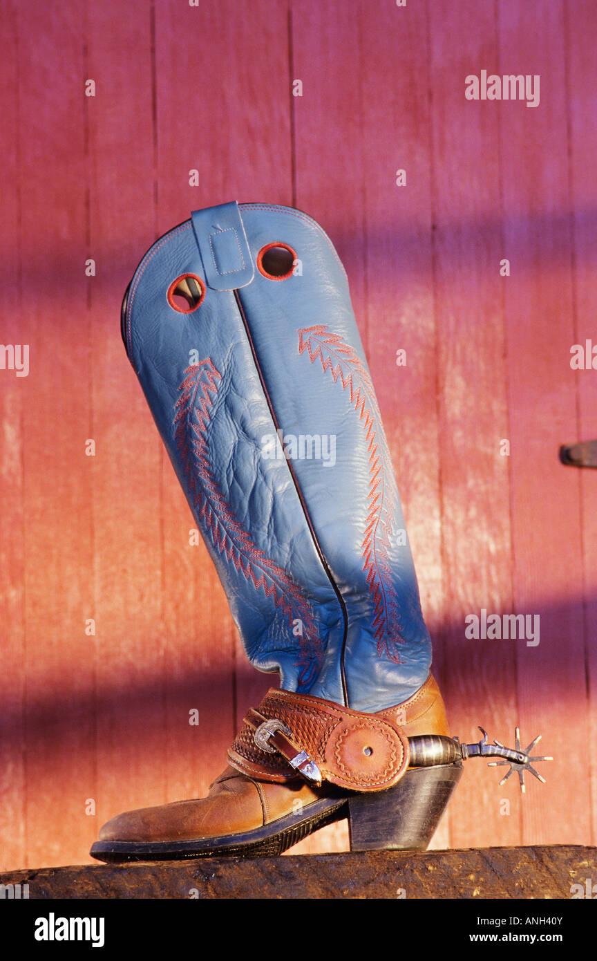 Cowboy boots and spurs, Alkalai Ranch, British Columbia, Canada. - Stock Image