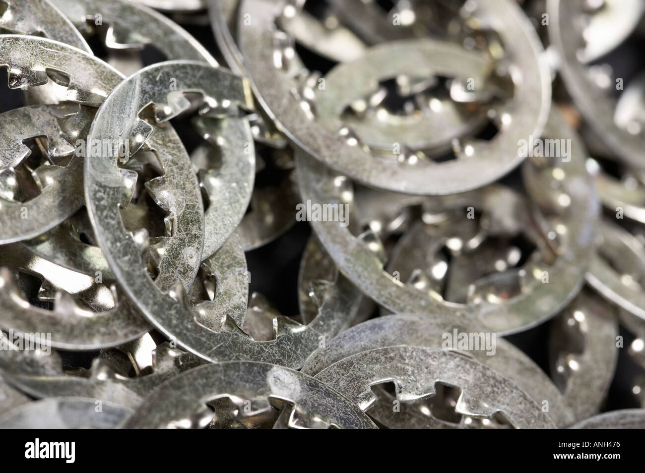 Metal washers closeup Stock Photo
