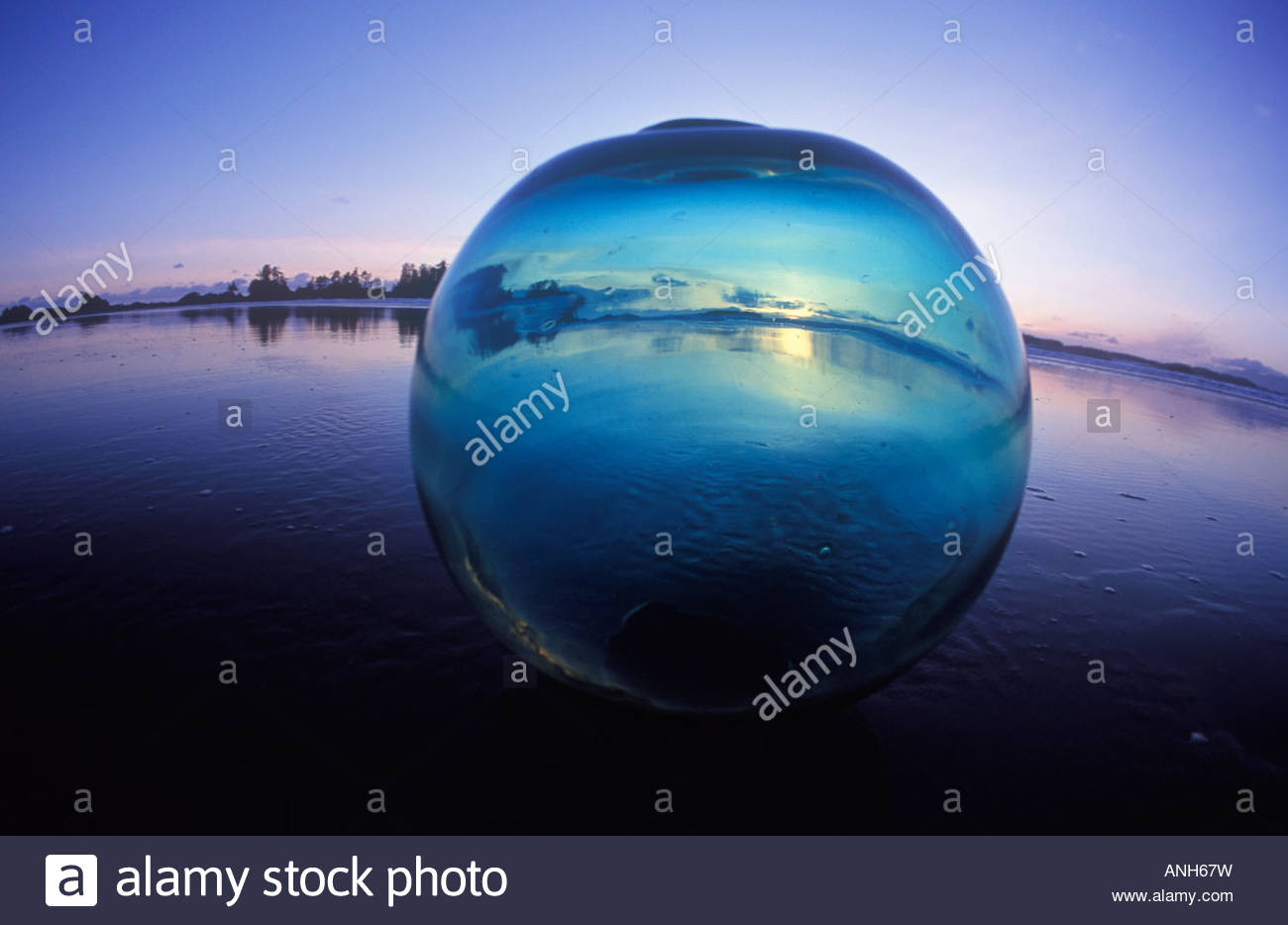 Japanese glass fishing float (glass ball) a West Coast beachcomber treasure, British Columbia, Canada. - Stock Image
