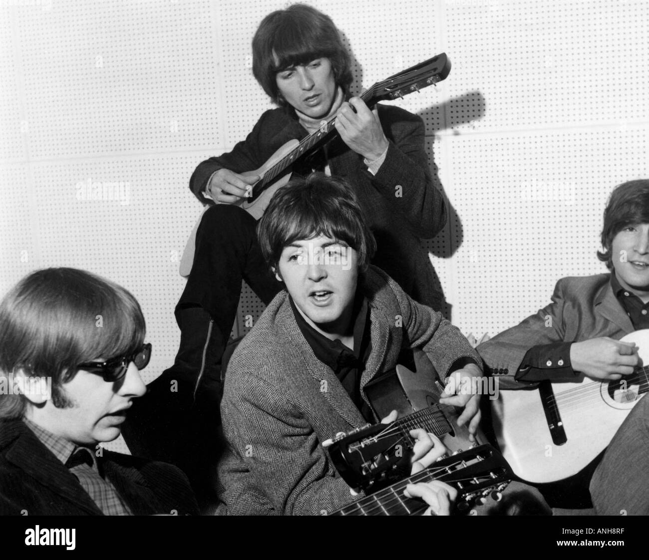 BEATLES with Russian made guitars in 1965 - Stock Image