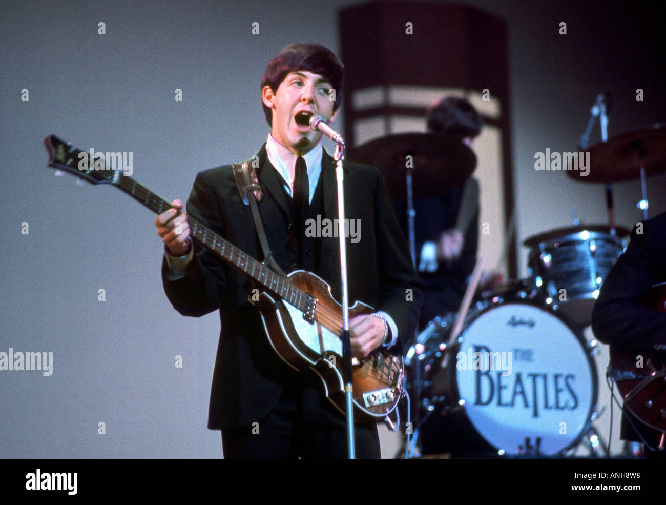 BEATLES Paul McCartney In 1964 With His Rickenbaker Bass Guitar