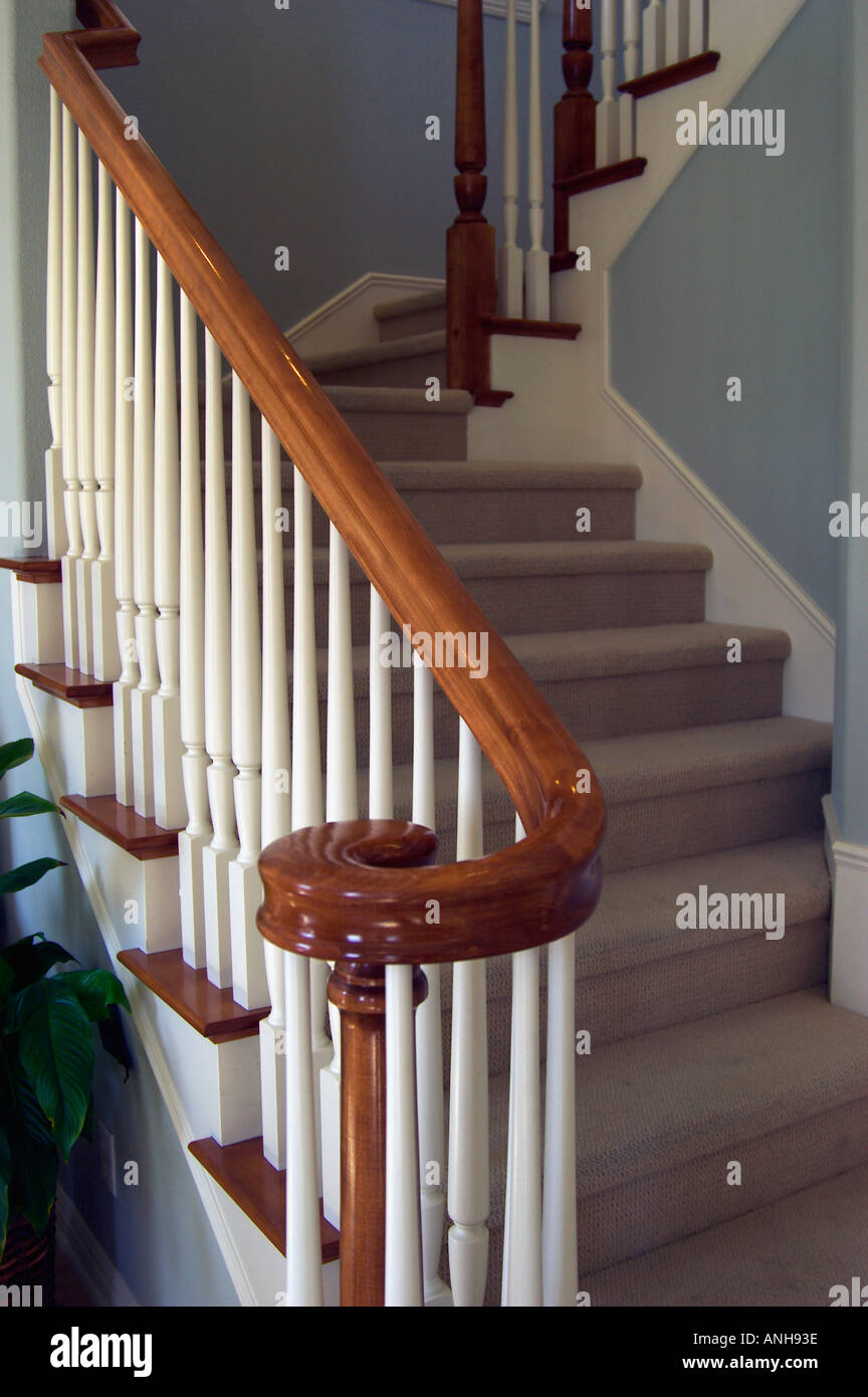 Wood Banister In Home Stock Photo 2873661 Alamy