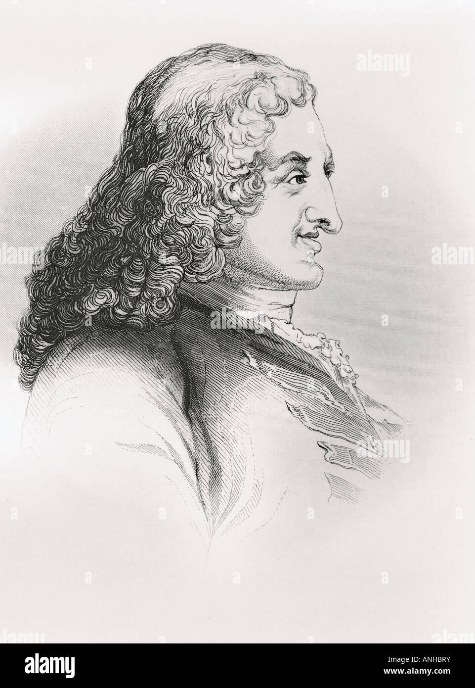 Henry Fielding 1707 1754 English novelist and dramatist 19th century engraving by J C Buttre - Stock Image