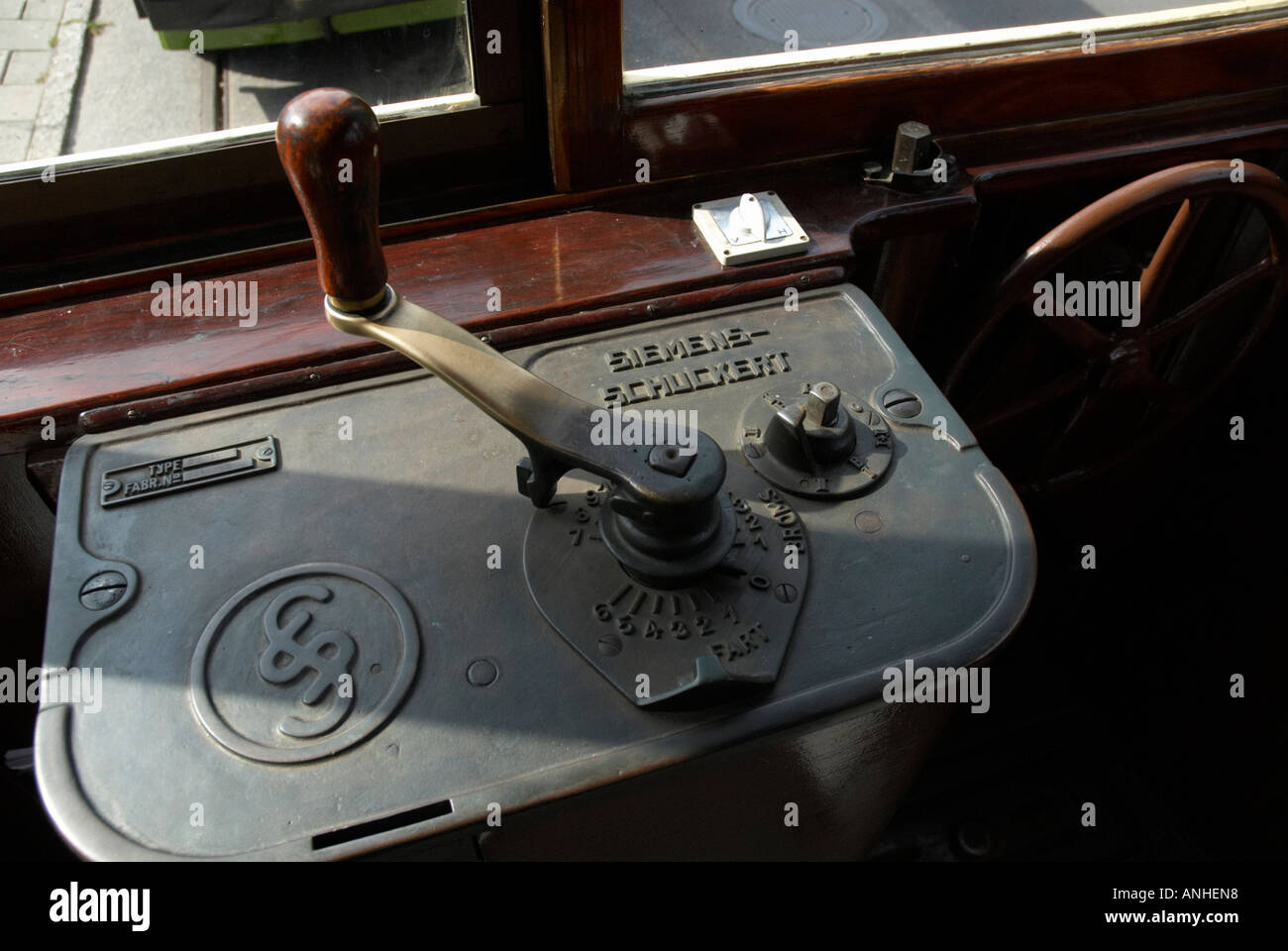 Drivers device on old tram - Stock Image