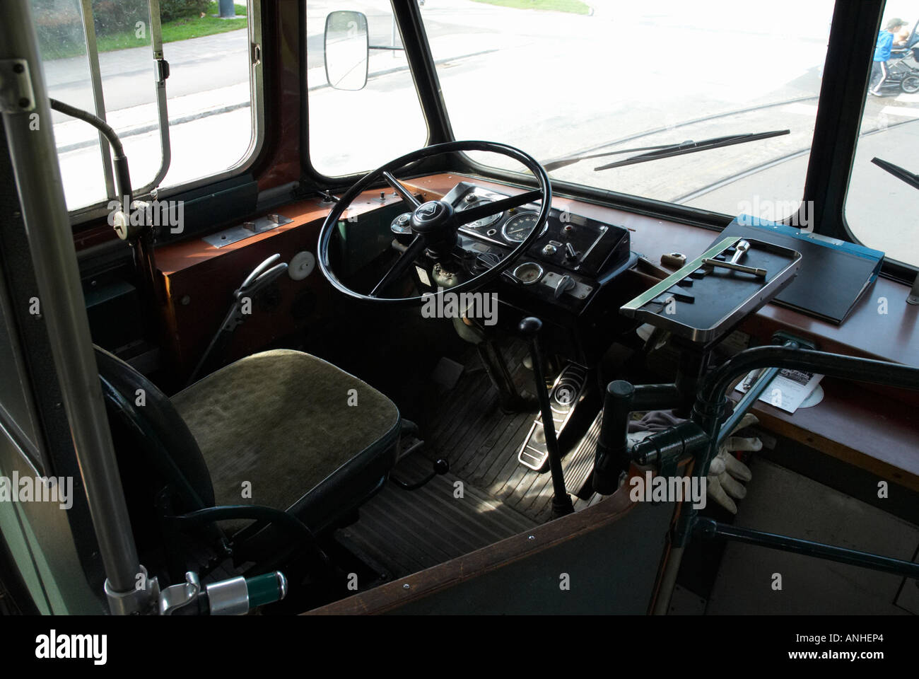 Drivers seat in  diesel bus MSS nbr 50 from 1957 made by Volvo - Stock Image