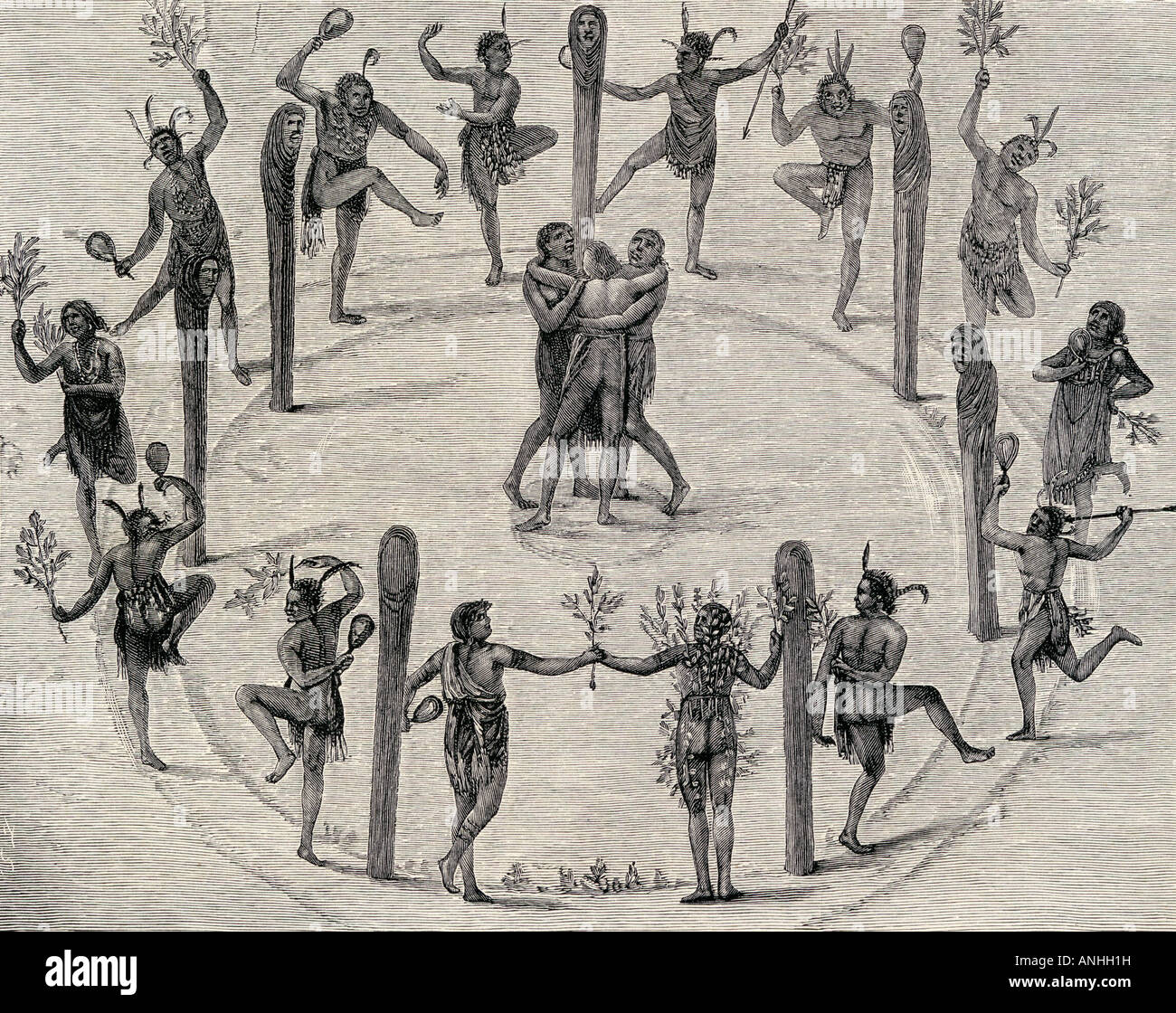 A Dance of the Carolina Indians at Roanoke Engraving from the original drawing by John White 1540 1606 - Stock Image