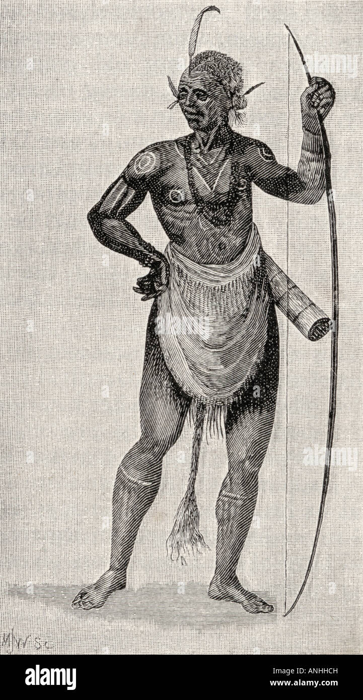 Indian Warrior of North Carolina in 1585 Engraved from John Whites original drawing in the British museum - Stock Image