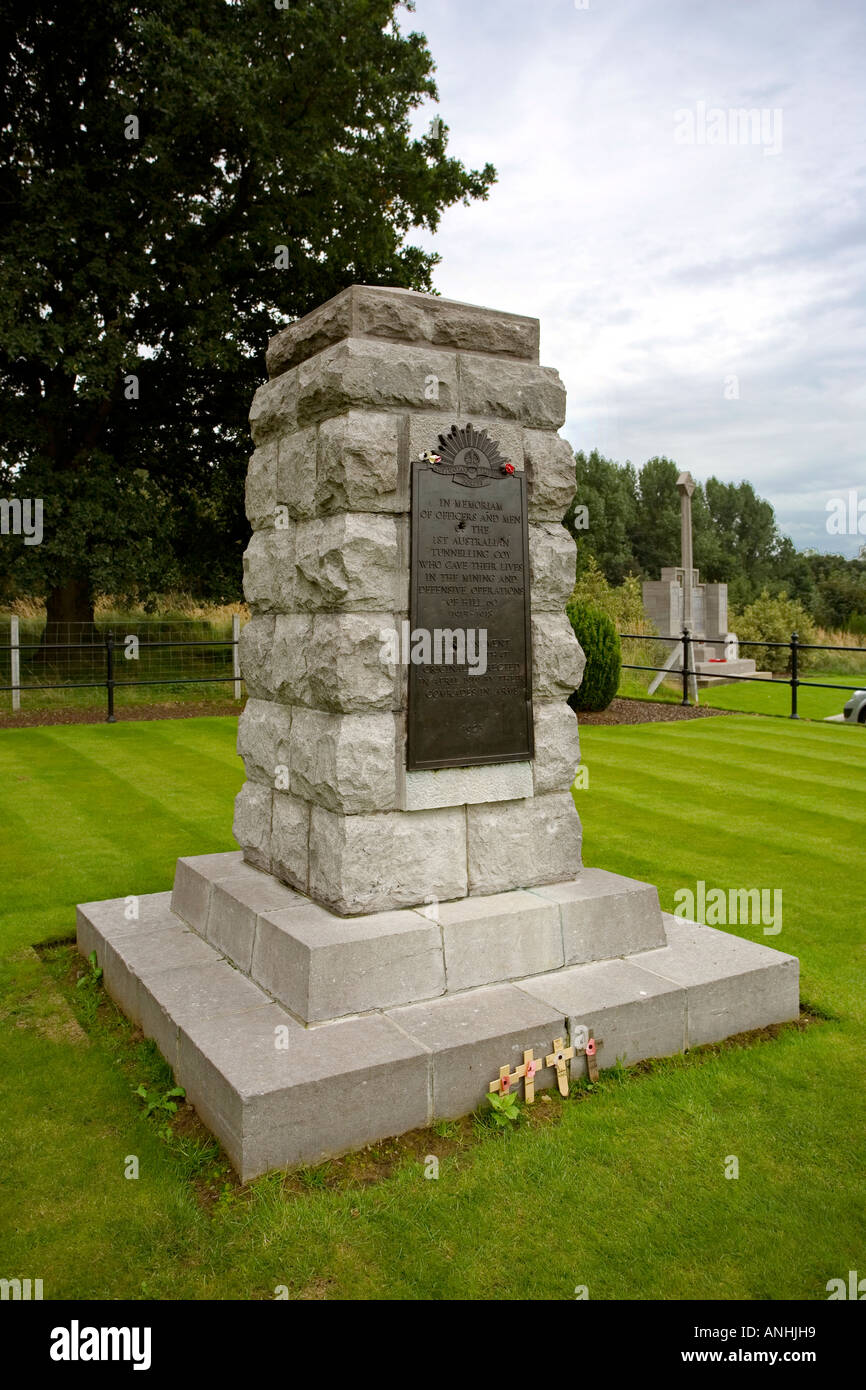 Memorial to the 1st Australian Tunnelling Company at Hill 60 near Ypres Belgium - Stock Image