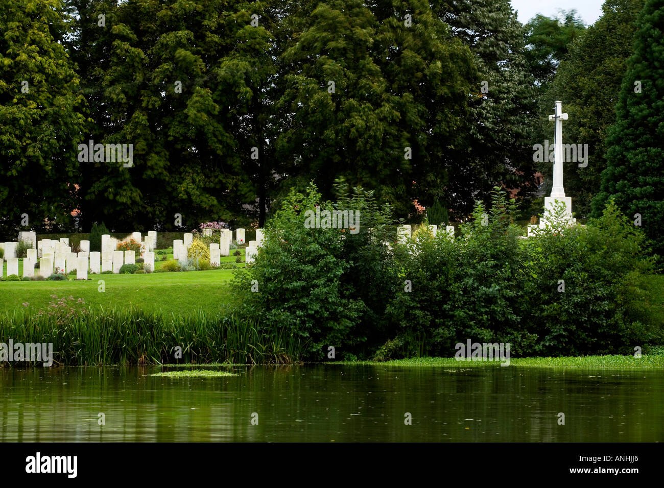 Ramparts British Cemetery by Lille Gate in Ypres Belgium Stock Photo