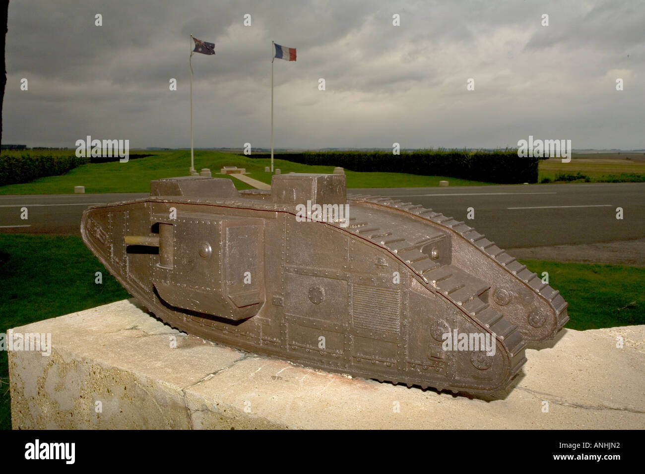 Heavy tank Mark IV on the WW1 Tank Corps Memorial at Pozieres on the Somme in France - Stock Image