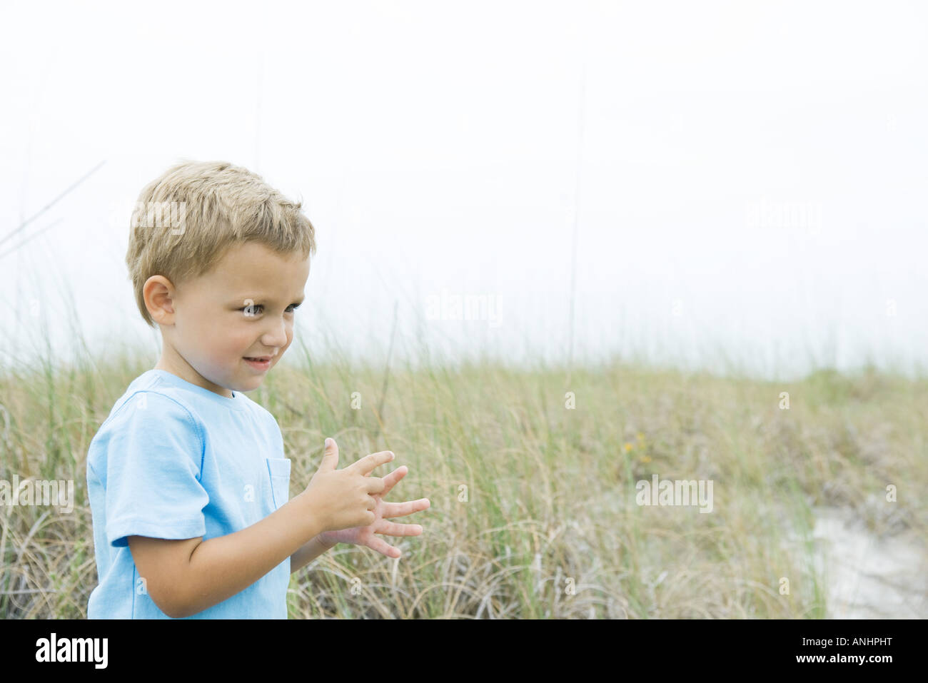 Young boy standing in tall grass, looking away, side view - Stock Image