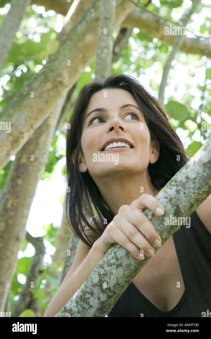 Woman looking over branch, low angle view - Stock Image