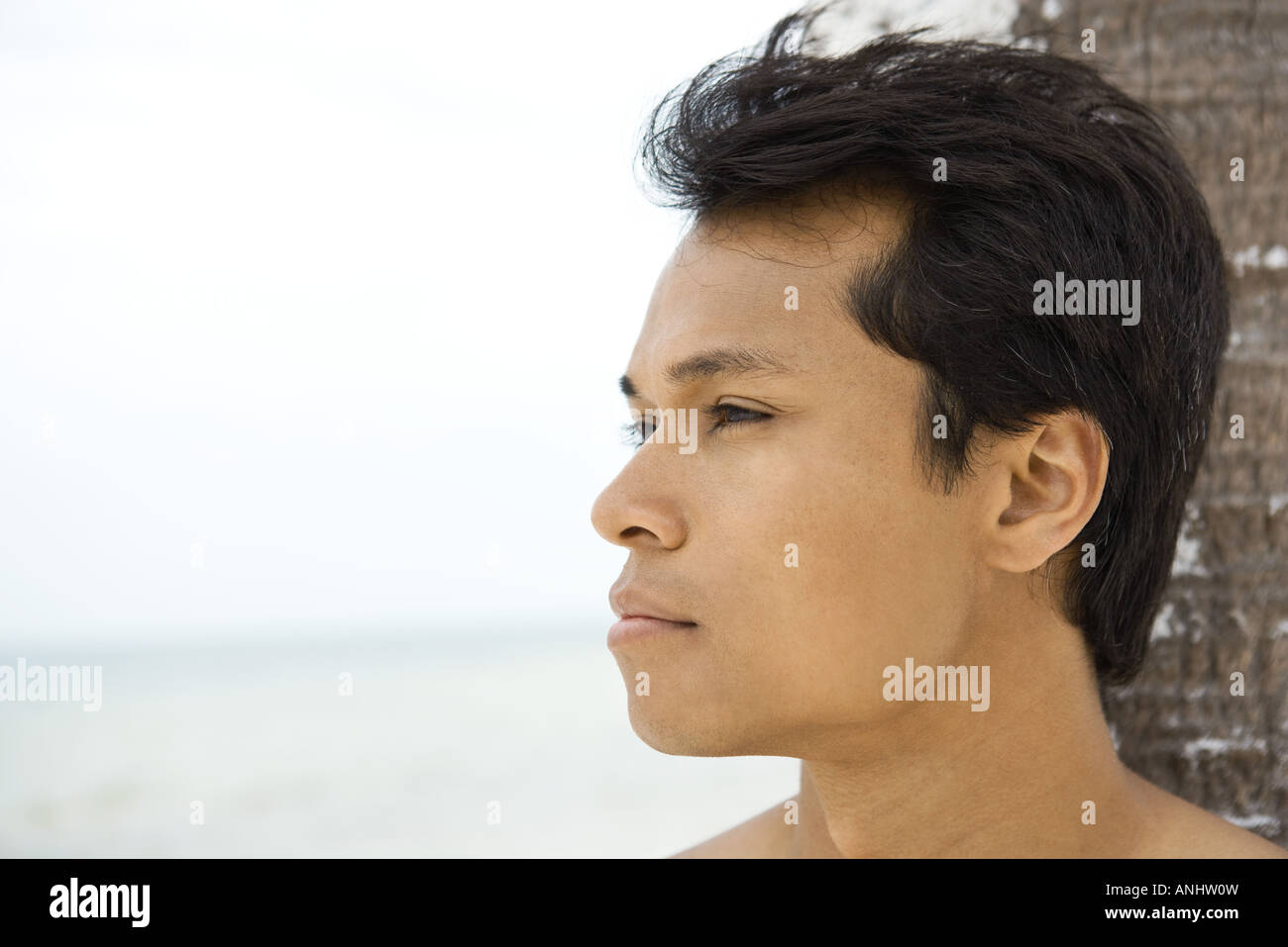Man leaning against palm tree, looking away, headshot - Stock Image