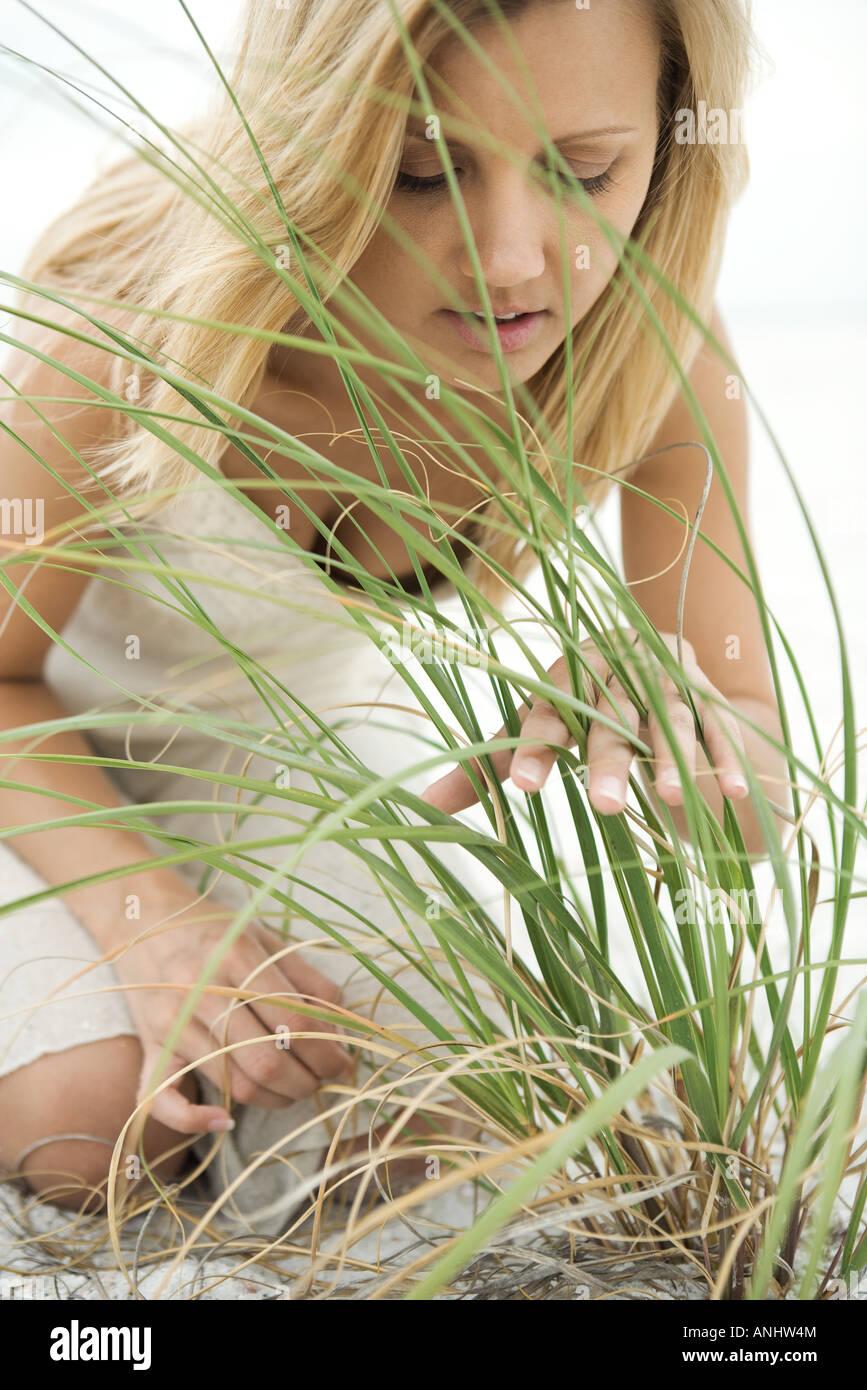 Woman kneeling on beach, looking through tall grass - Stock Image