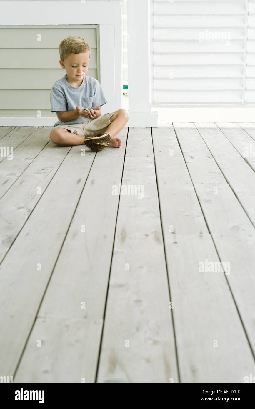 Boy sitting on the ground next to bird's nest, looking down at eggs in his hands Stock Photo