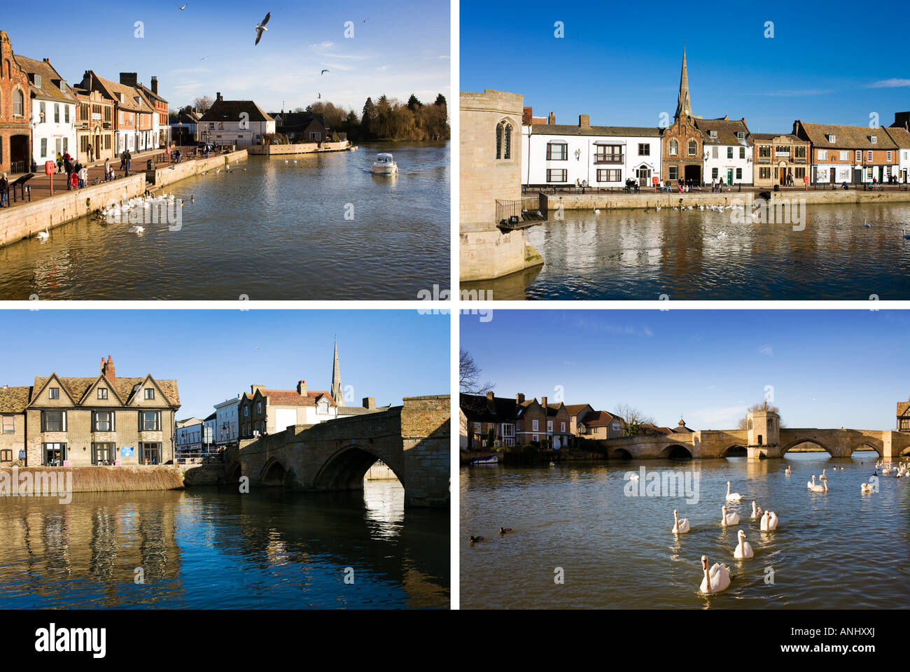 Four Images Of A Traditional English Town All In The One Postcard Type Image, St Ives In Cambridgeshire England - Stock Image