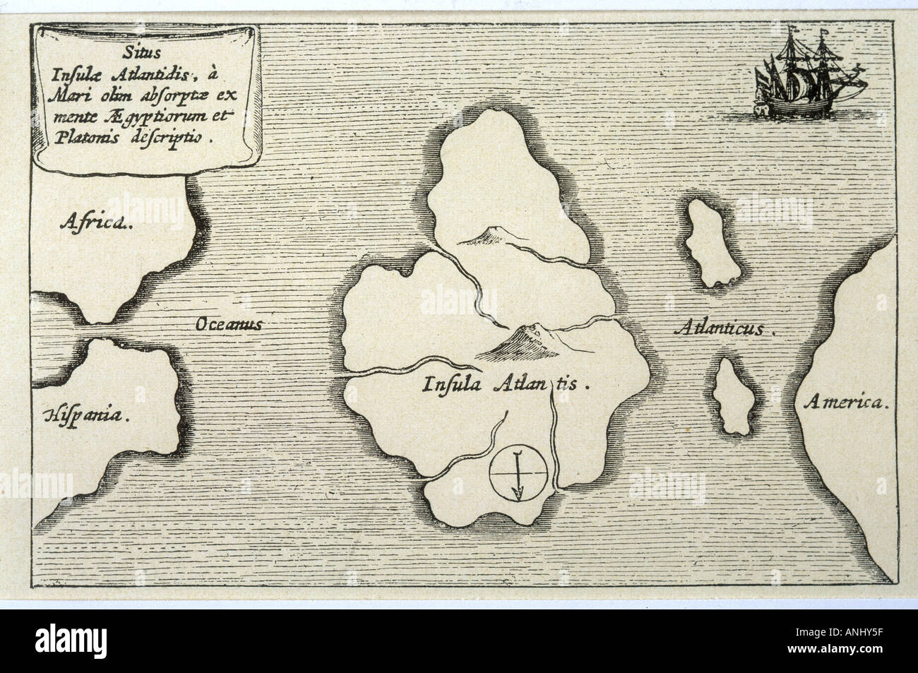 Map Of Atlantis Kircher - Stock Image