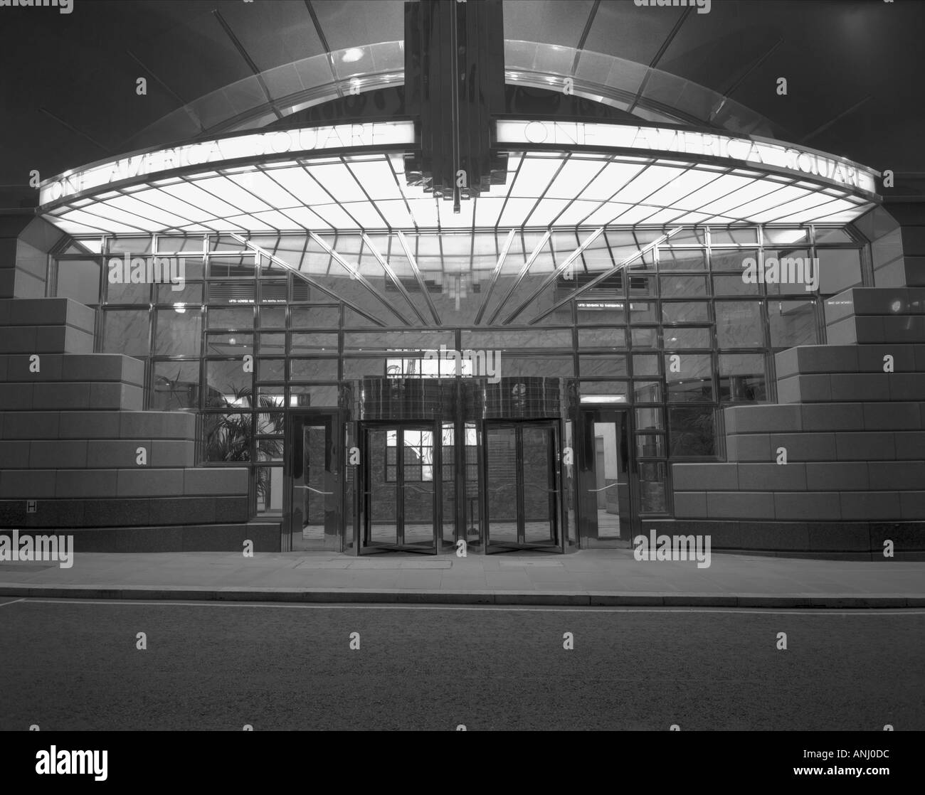 bank of america entrance in the city of london england in black and white - Stock Image