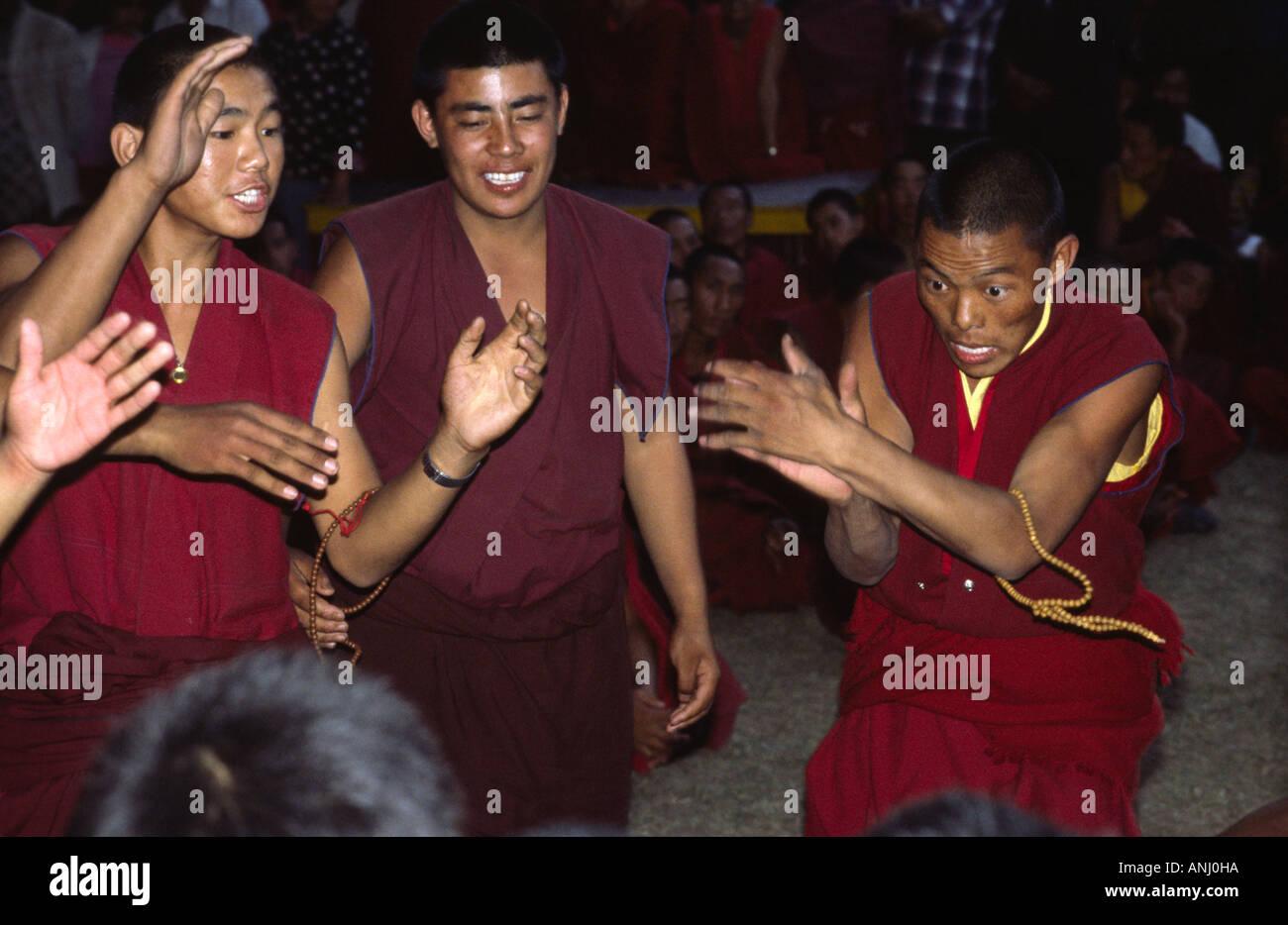 Debating monks. Dharamsala, Himachal Pradesh. India - Stock Image