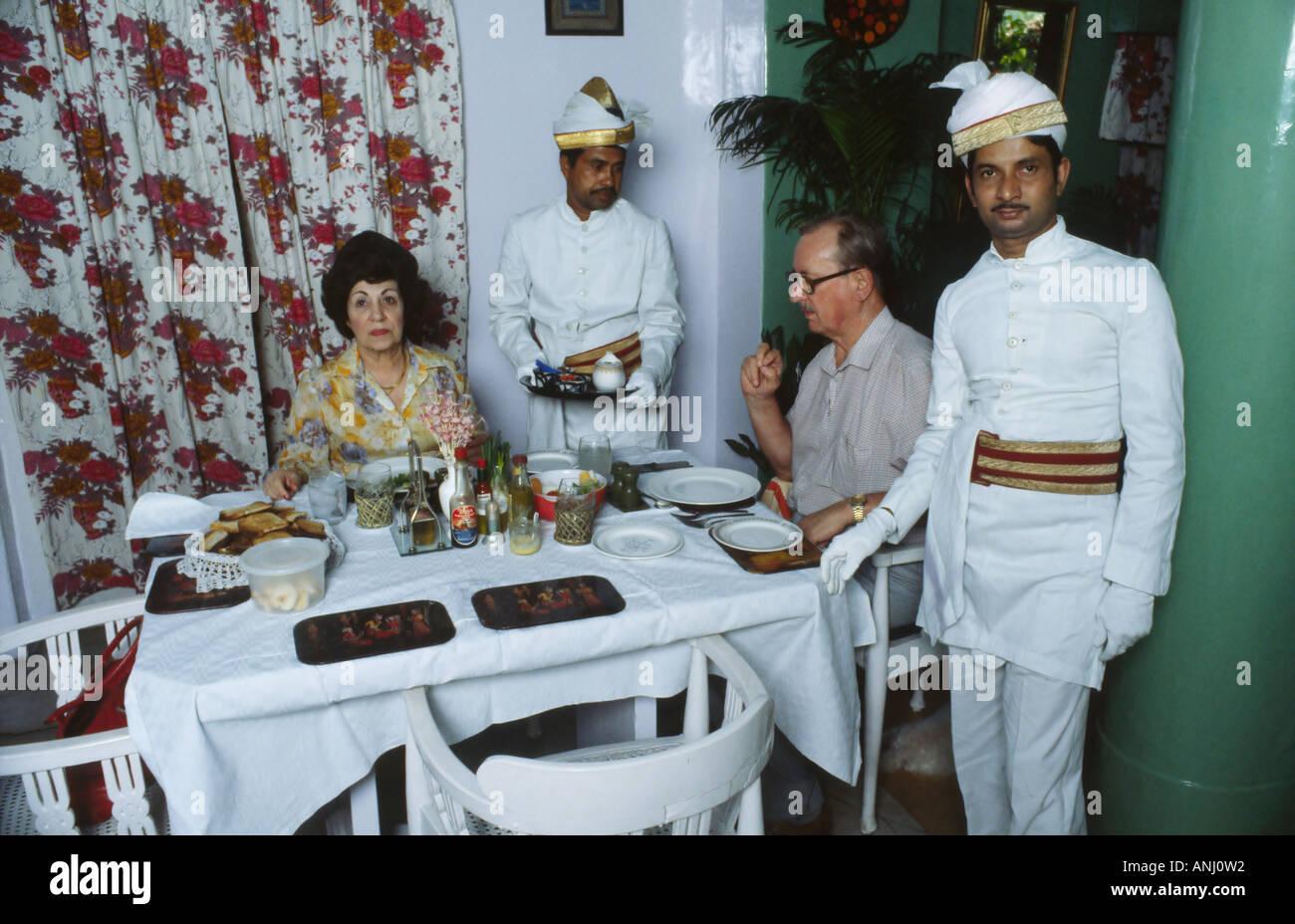 An old Raj couple having breakfast. India - Stock Image