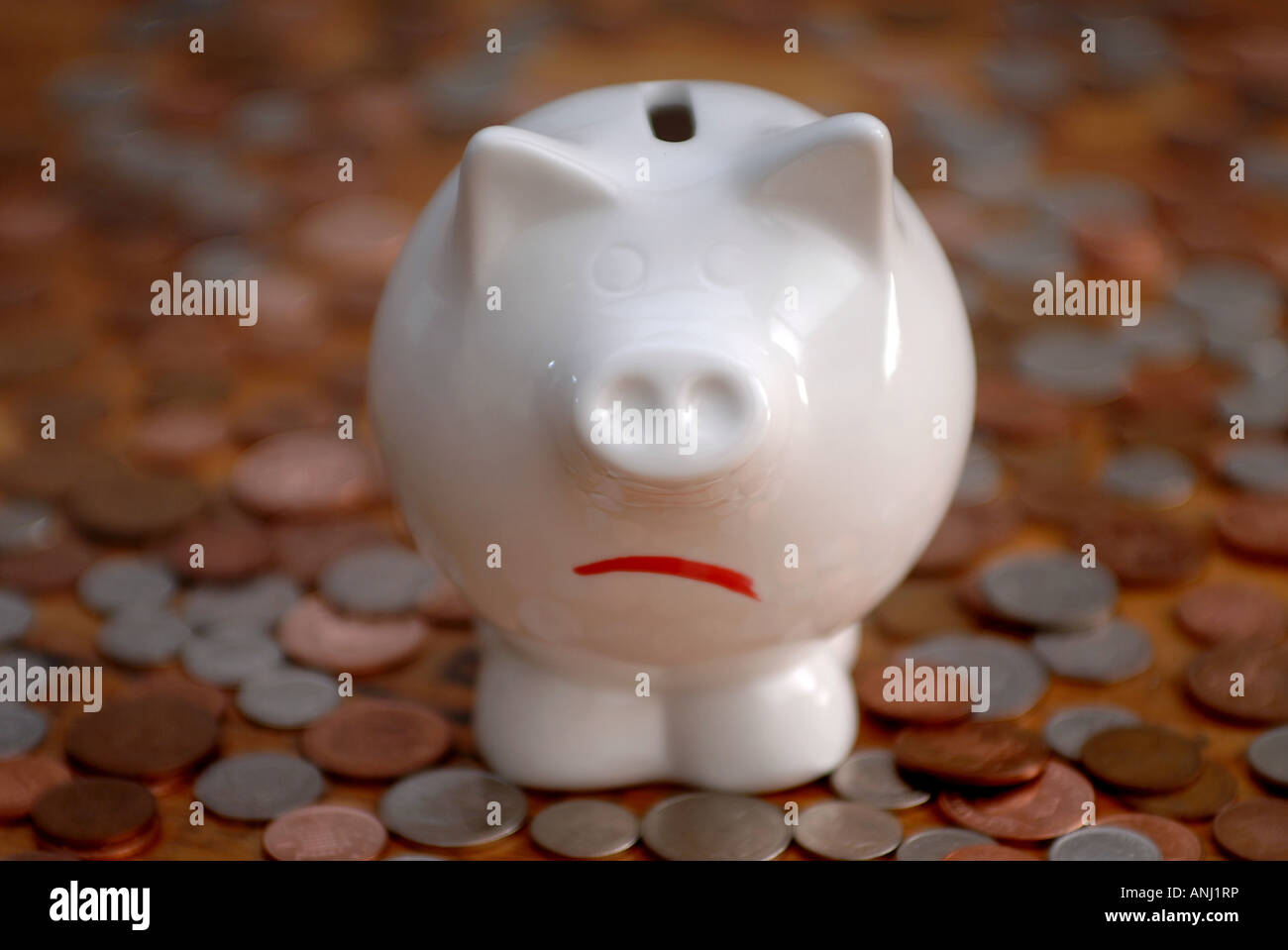 An unhappy piggy bank standing on coins to illustrate savings and debt. - Stock Image