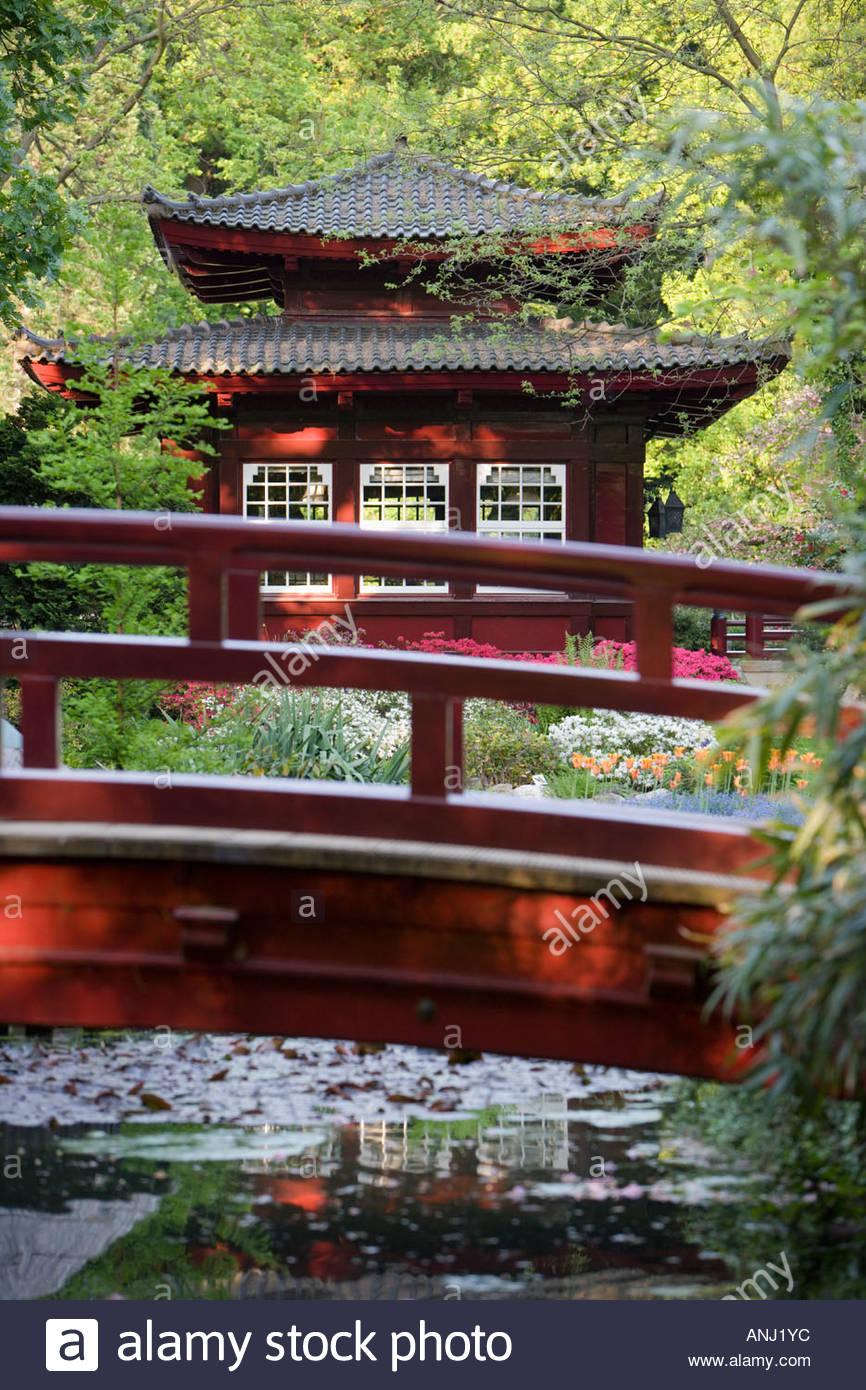Wooden Japanese Bridge Garden Pavillon Teahouse Exotic Water Reflexion  Idyllic Bayer Chemical Plant Leverkusen Germany Europe
