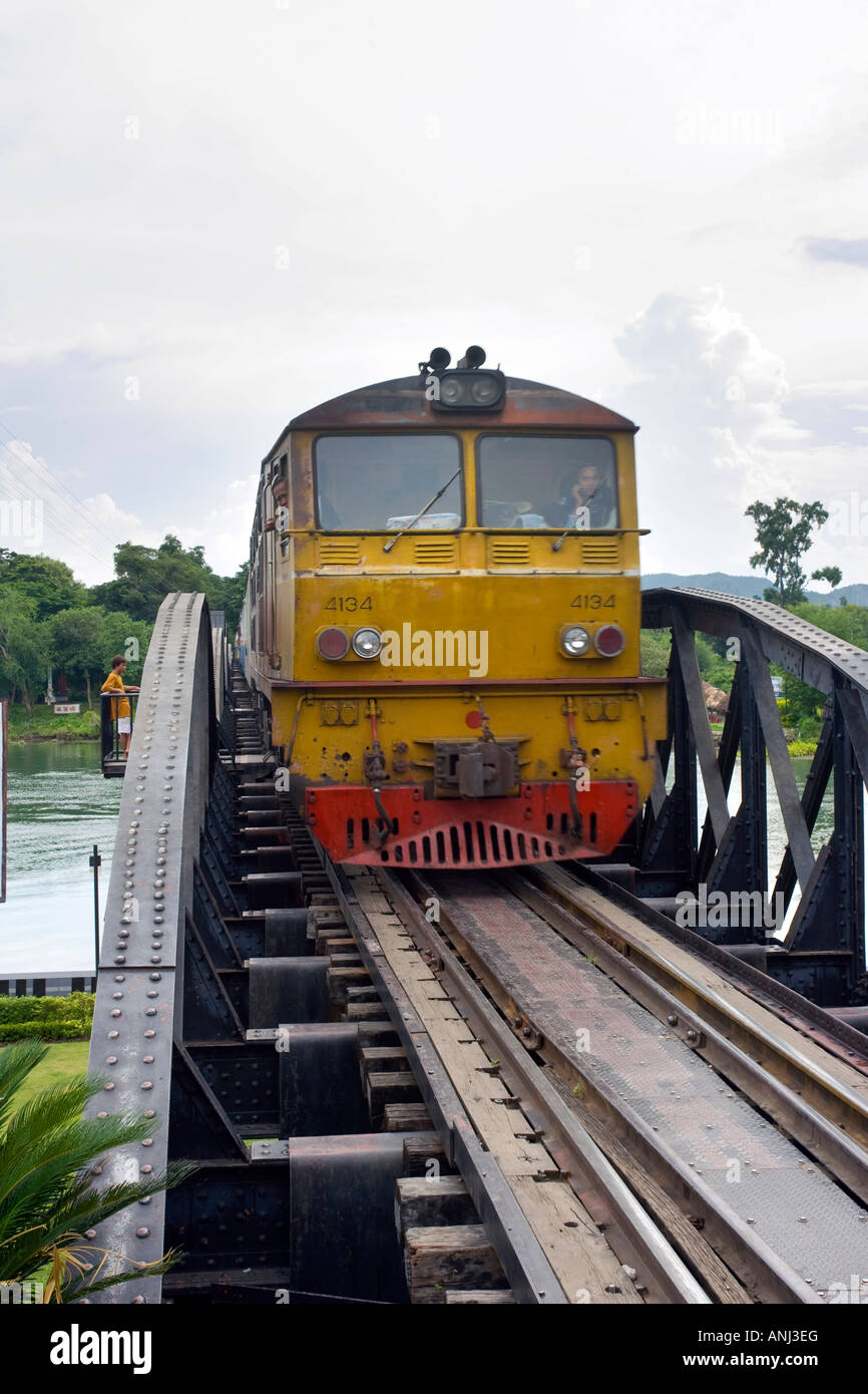 Train crossing the Bridge on the River Kwai Chiang Mai Thailand - Stock Image