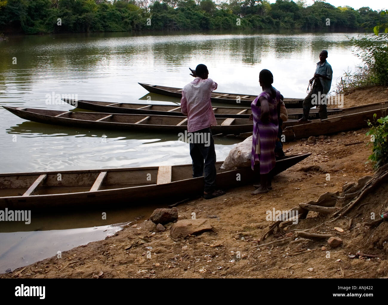 Black Volta River ferry crossing The international border between Ghana and Burkina Faso - Stock Image