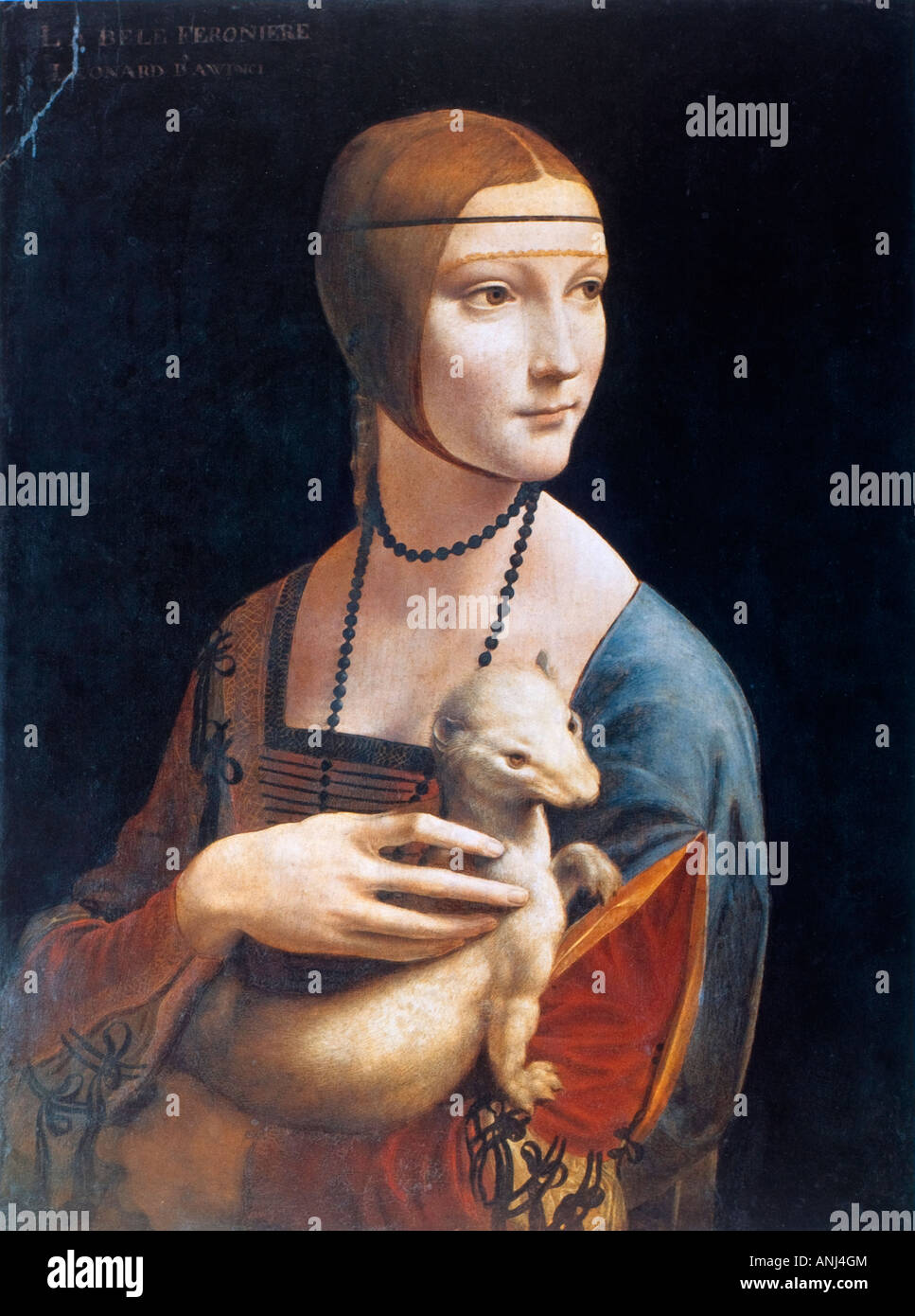Portrait of Cecilia Gallerani (Lady with an Ermine) by Leonardo da Vinci Stock Photo