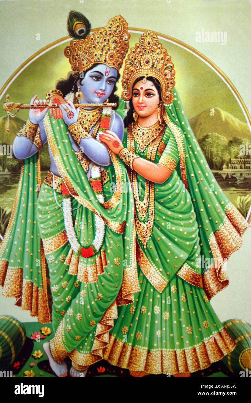 Krishna And Radha Stock Photo Alamy