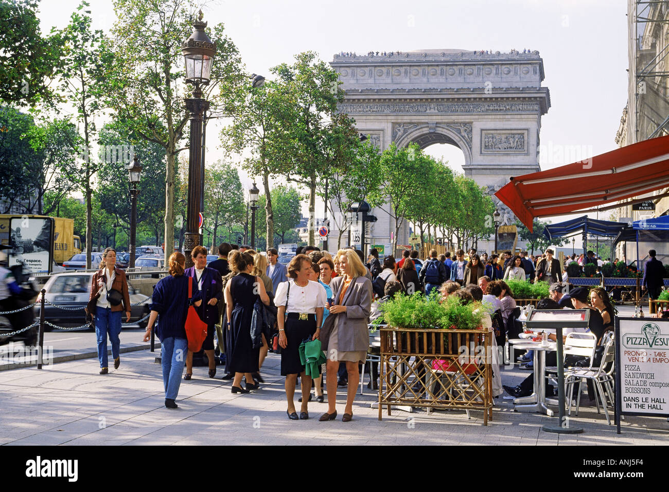 cafe on champs elysees with arc de triomphe in paris stock photo 2876915 alamy. Black Bedroom Furniture Sets. Home Design Ideas