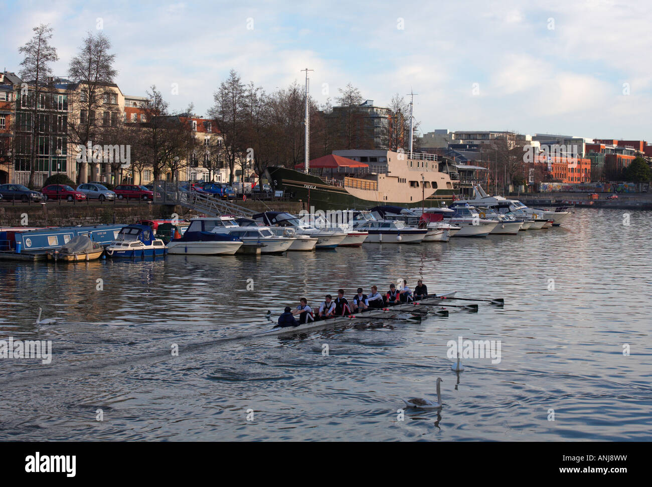 Canoists on the River Avon at Bristol harbour England - Stock Image