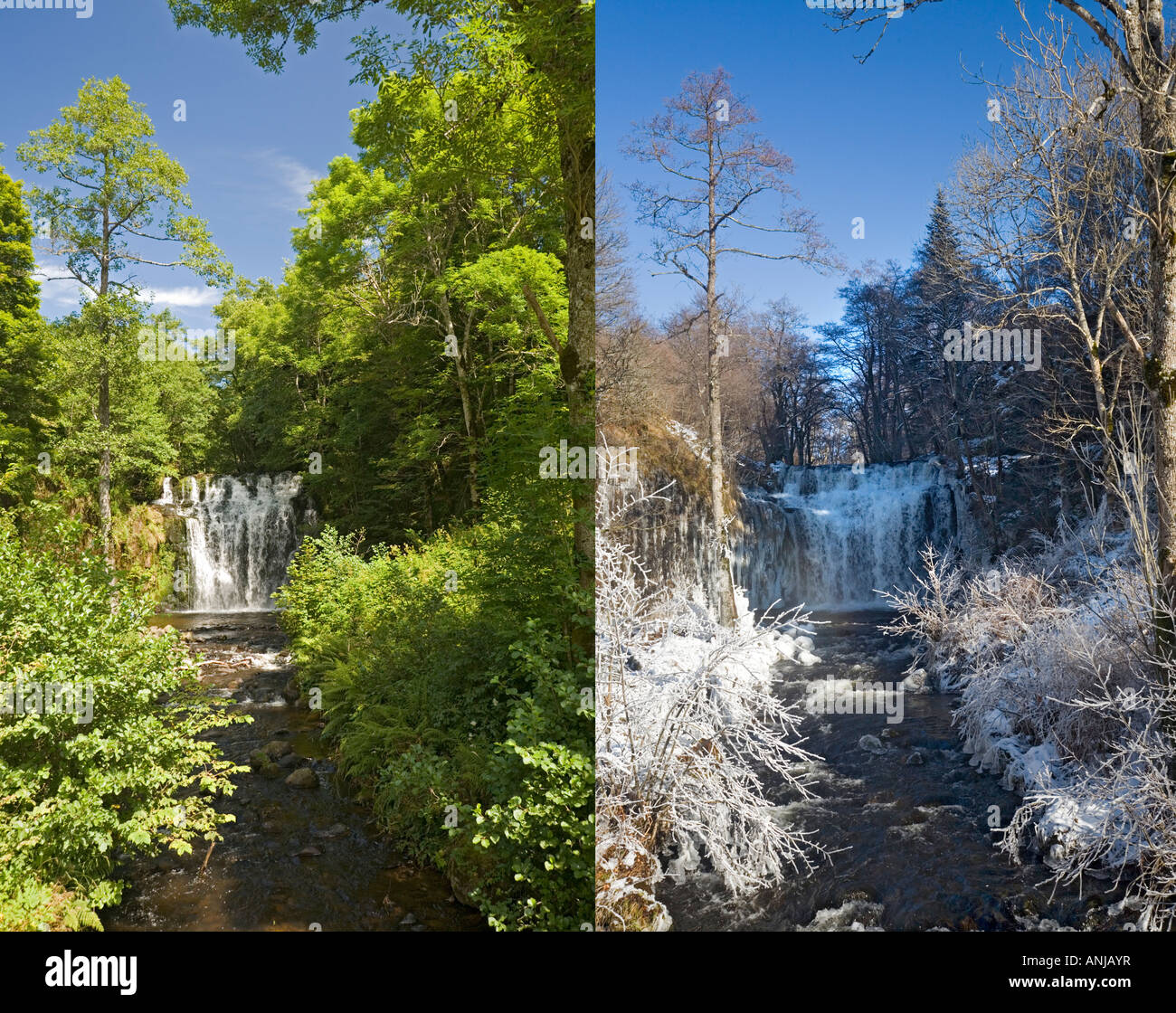 In Summer and Winter, the 'Bois de Chaux' cascade, at Entraigues, La cascade du Bois de Chaux à Entraigues, - Stock Image