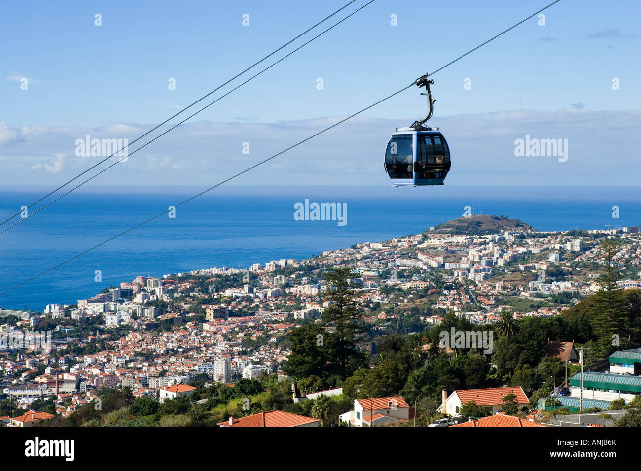 View over City and Monte Cable Car, Funchal, Madeira, Portugal - Stock Image