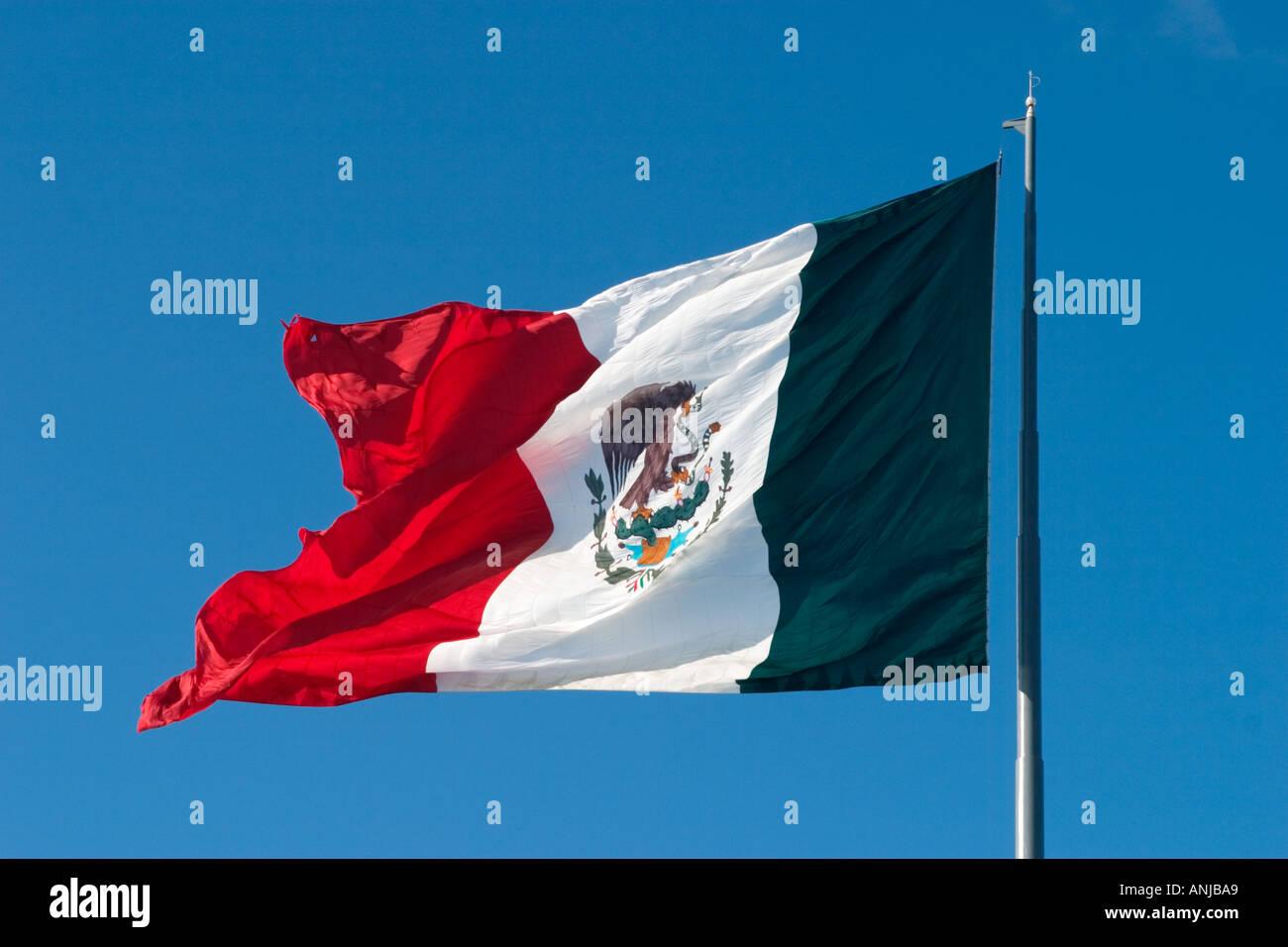 Giant Mexican Flag in Cancun, Yucatan Peninsula, Mexico - Stock Image