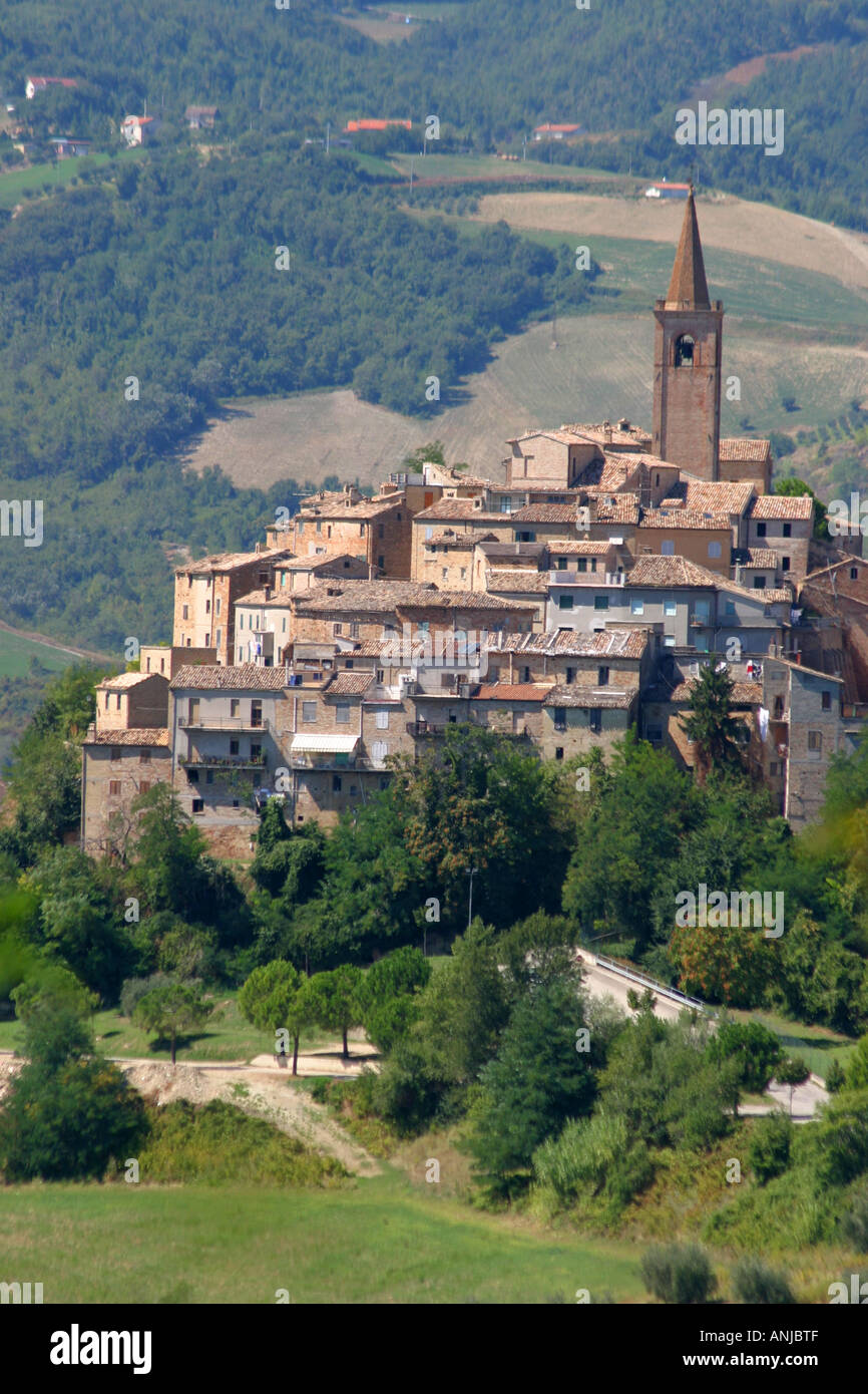 Typical hilltop village of le Marche Italy Stock Photo